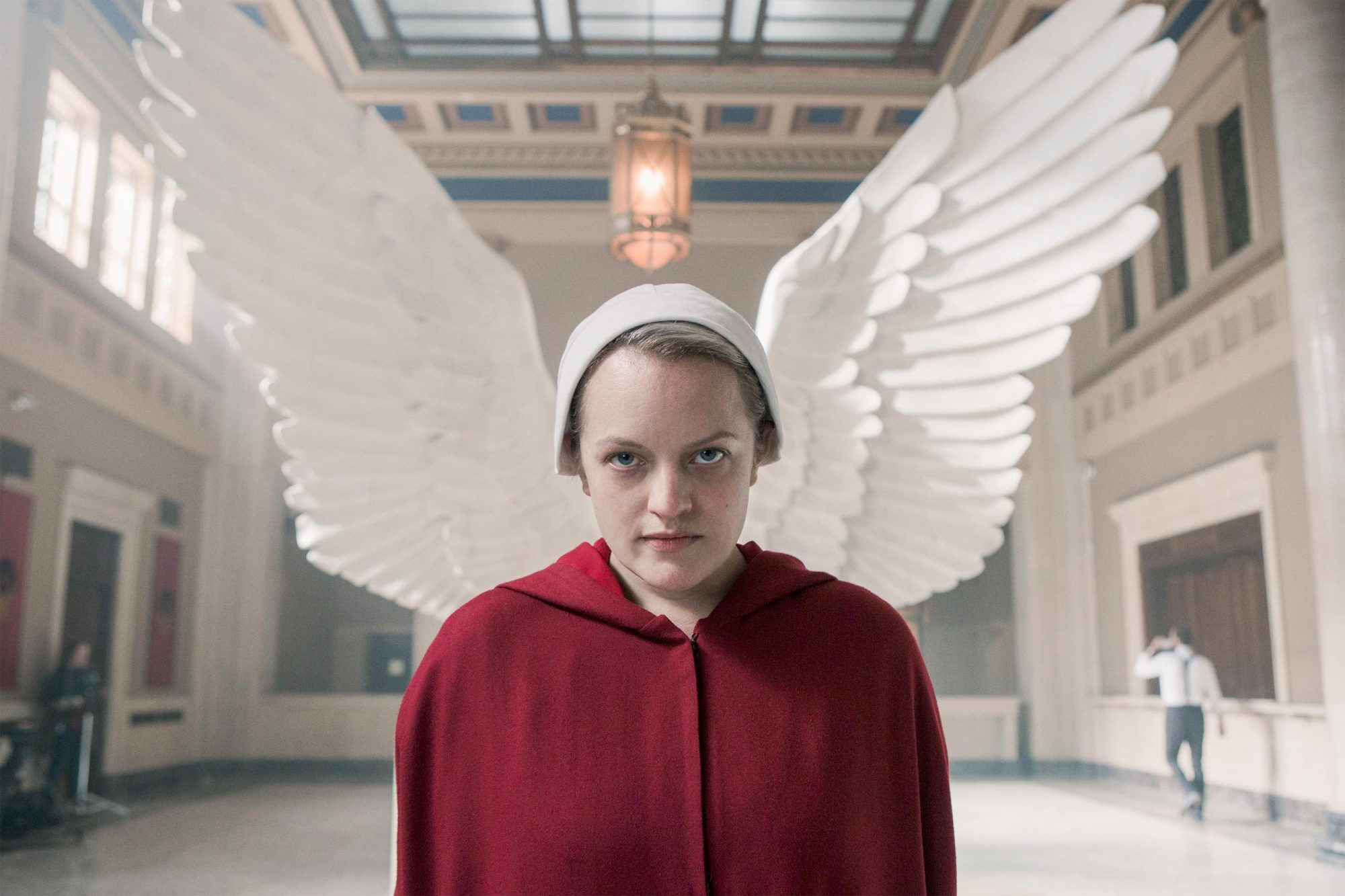 "The Handmaid's Tale -- ""Household"" - Episode 306 -- June accompanies the Waterfords to Washington D.C., where a powerful family offers a glimpse of the future of Gilead. June makes an important connection as she attempts to protect Nichole. June (Elisabeth Moss), shown. (Photo by: Sophie Giraud/Hulu)"