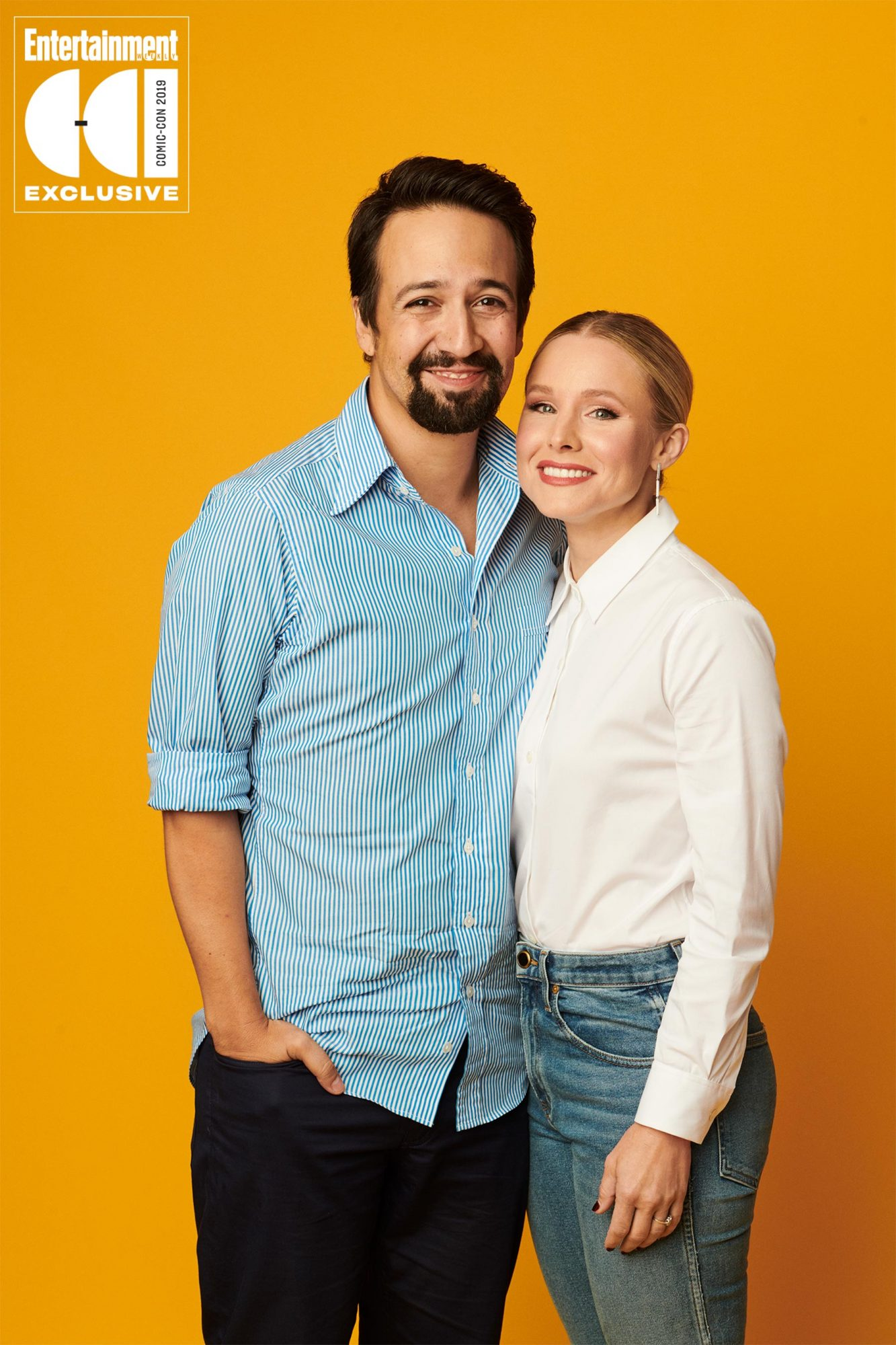 Day 1 - 2019 SDCC - San Diego Comic-con Lin-Manuel Miranda and Kristen Bell photographed in the Entertainment Weekly portrait studio during the 2019 San Diego Comic Con on July 18th, 2019 in San Diego, California. Photographed by: Eric Ray Davidson Pictured: Lin-Manuel Miranda and Kristen Bell