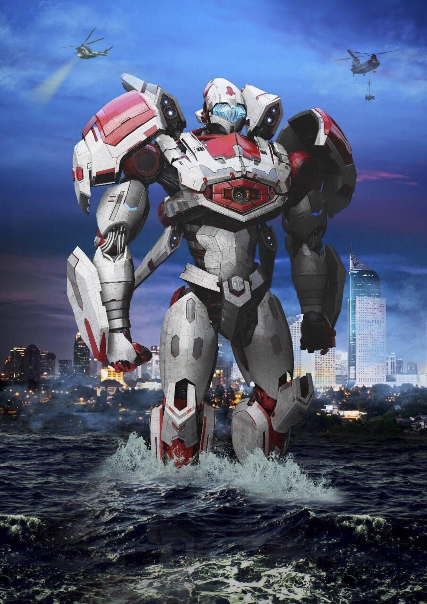 Pacific Rim's new Mark VII Jaegar, Storm Garuda. The new jaegar makes it's debut in the Pacific Rim: Shatterdome Strike Attraction 3D film.