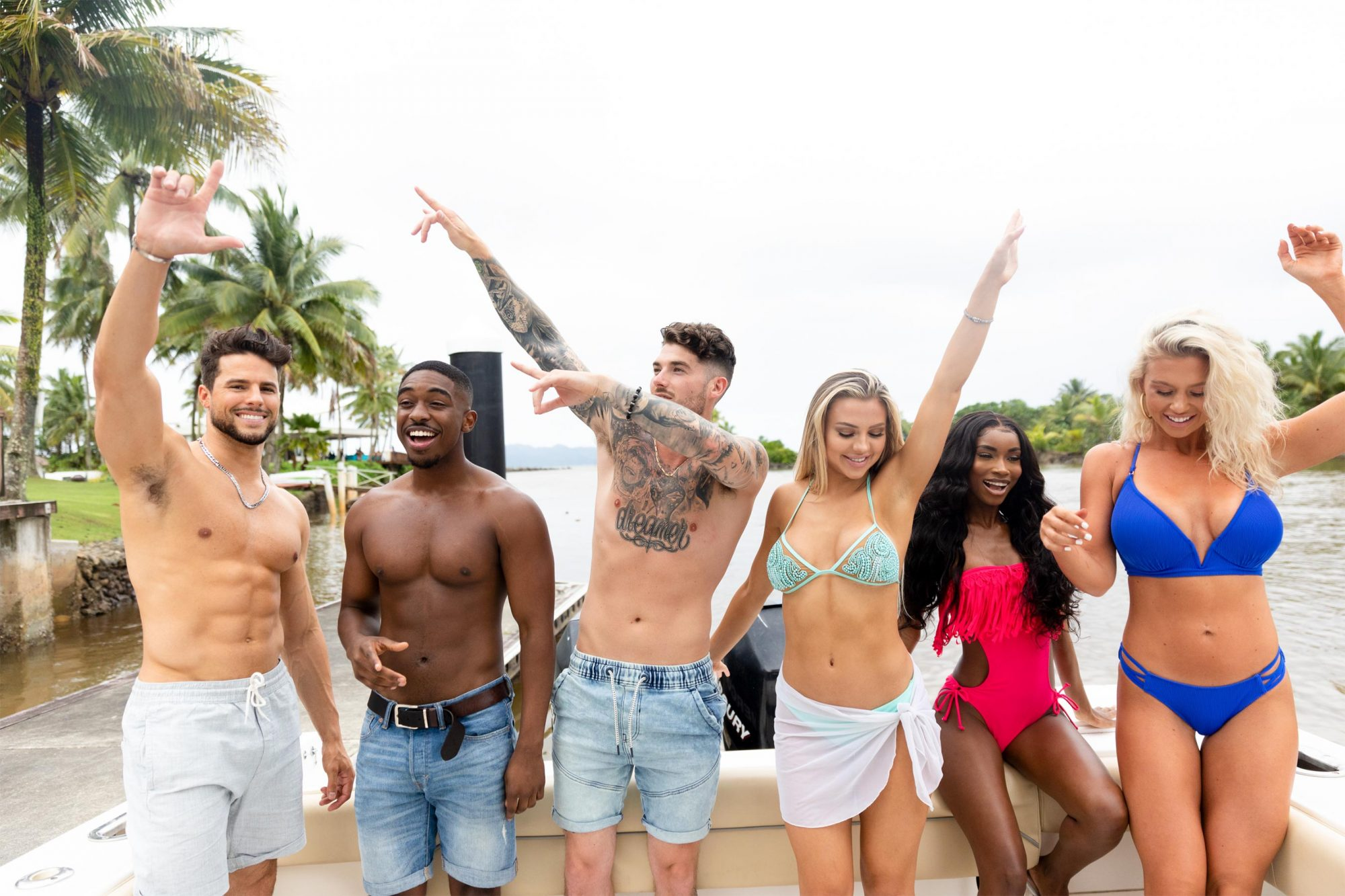 "Love Island - Pictured: George Johnson, Ray Gantt, Eric Hall, Marlisse ""Marli"" Tyndall, Aissata Diallo and Kelsey Jurewicz. The tenth episode of Love Island airs, Monday, July 22 (8:00-9:00 PM, ET/PT). New one-hour episodes continue every weeknight through Wednesday, August 7 (8:00-9:00 PM, ET/PT). Photo: Colin Young-Wolff/CBS Entertainment ©2019 CBS Broadcasting, Inc. All Rights Reserved."