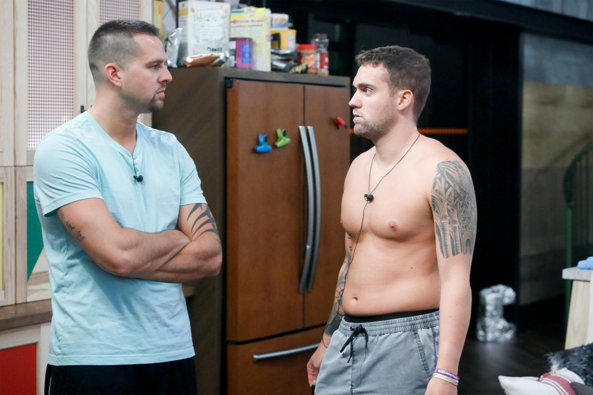 Sam Smith and Nick Maccarone on the fourth live Big Brother eviction show. Big Brother airs Wednesdays (9:00-10:00 PM, ET/PT), Thursdays, featuring the live evictions (9:00-10:00 PM, LIVE ET/Delayed PT) and Sundays (8:00-9:00 PM, ET/PT). Reserved Photo: Monty Brinton/CBS ©2019 CBS Broadcasting, Inc. All Rights Reserved