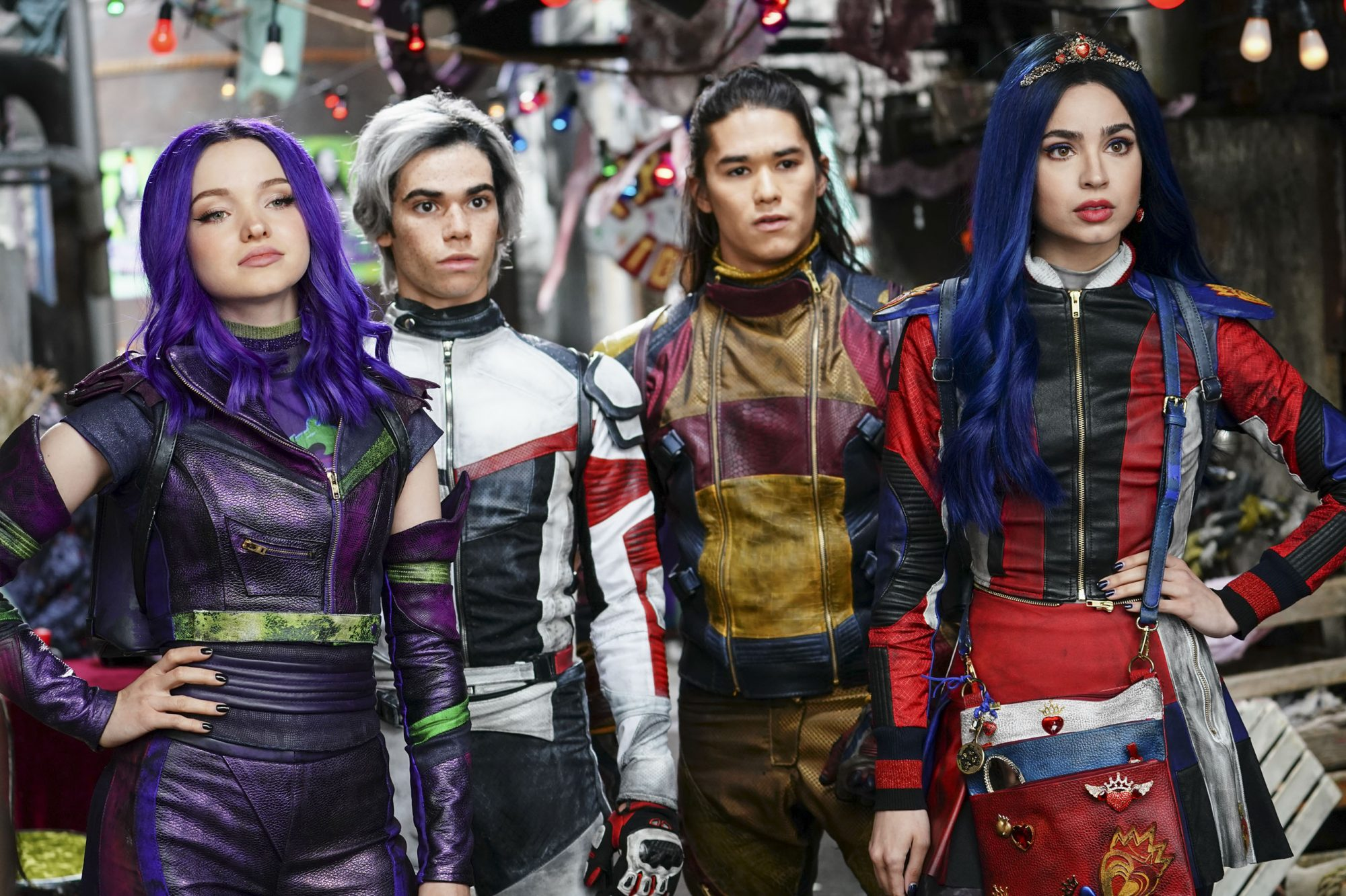 """DESCENDANTS 3 - In this highly anticipated trequel about the sons and daughters of Disney's most infamous villains, Mal and the villain kids (VKs) must save Auradon from an evil threat. """"Descendants 3"""" will debut summer 2019 on Disney Channel. (Disney Channel/David Bukach) DOVE CAMERON, CAMERON BOYCE, BOOBOO STEWART, SOFIA ARSON"""