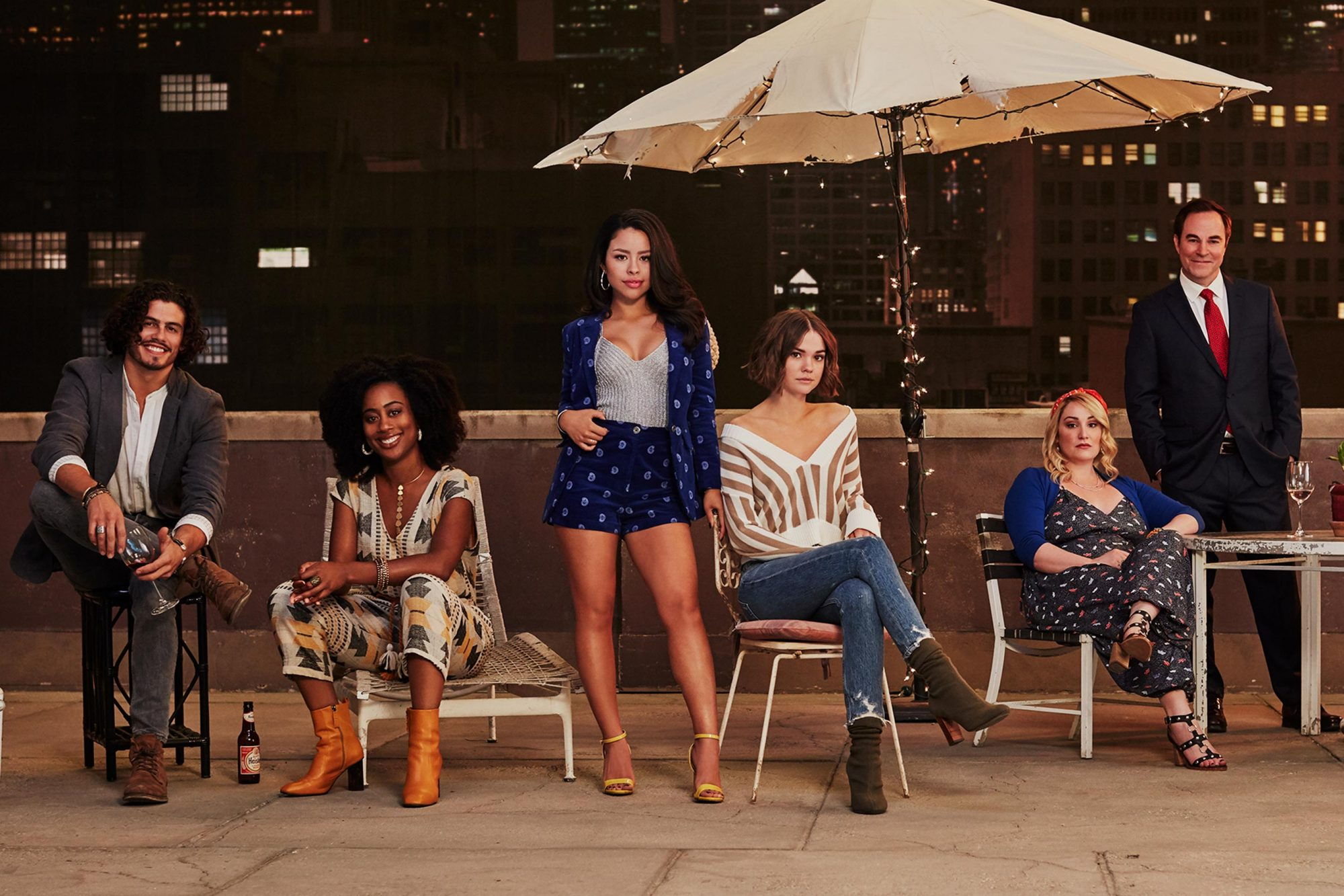 "GOOD TROUBLE - Freeform's ""Good Trouble"" stars Tommy Martinez as Gael, Zuri Adele as Malika, Cierra Ramirez as Mariana Adams Foster, Maia Mitchell as Callie Adams Foster, Emma Hunton as Davia, Roger Bart as Judge Wilson, Sherry Cola as Alice, and Josh Pence as Dennis. (Freeform/Gus&Lo)"
