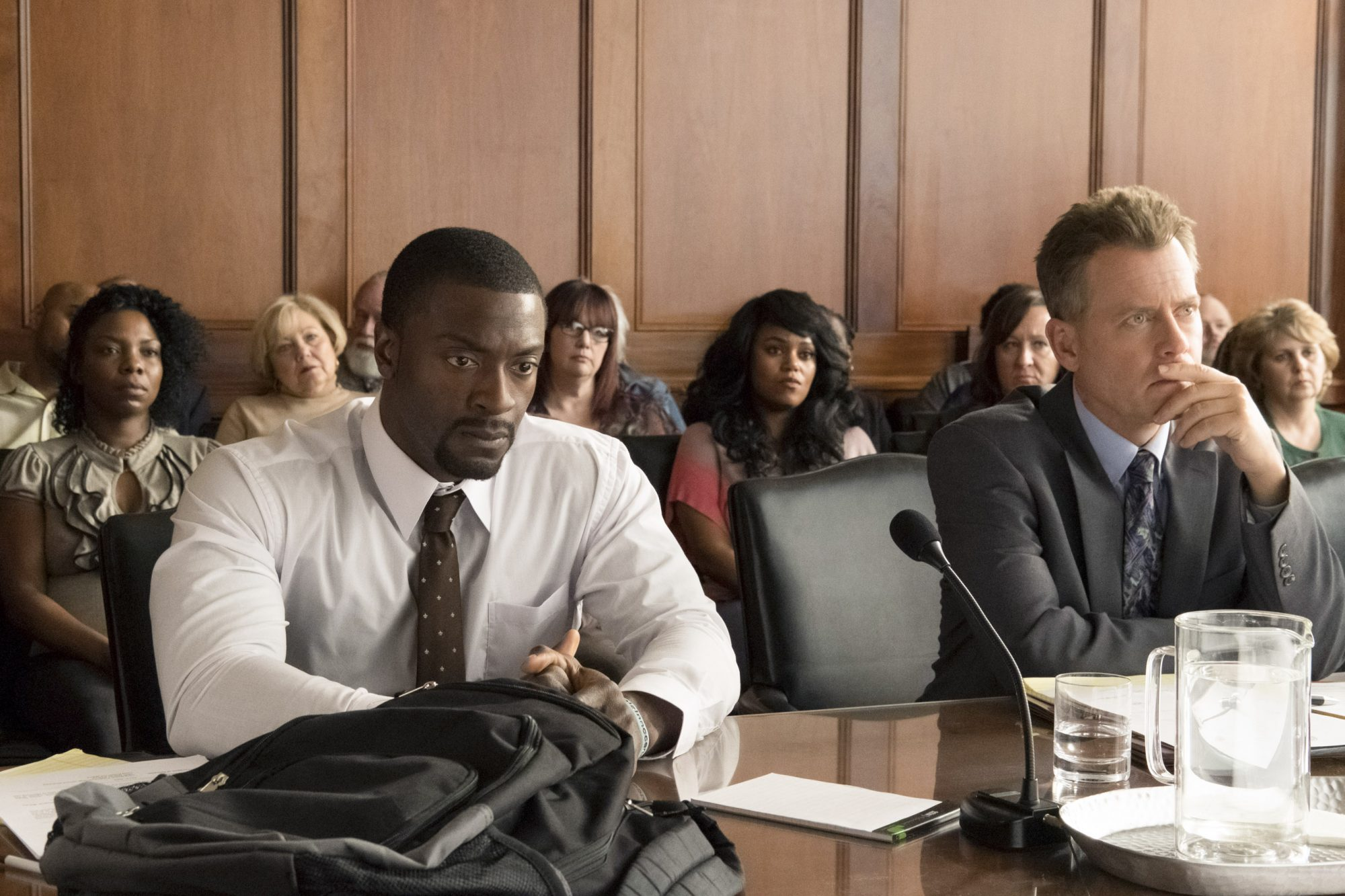 Aldis Hodge (left) as Brian Banks and Greg Kinnear (right) as Justin Brooks in Tom Shadyac's BRIAN BANKS, a Bleecker Street release. Credit: Katherine Bomboy / Bleecker Street