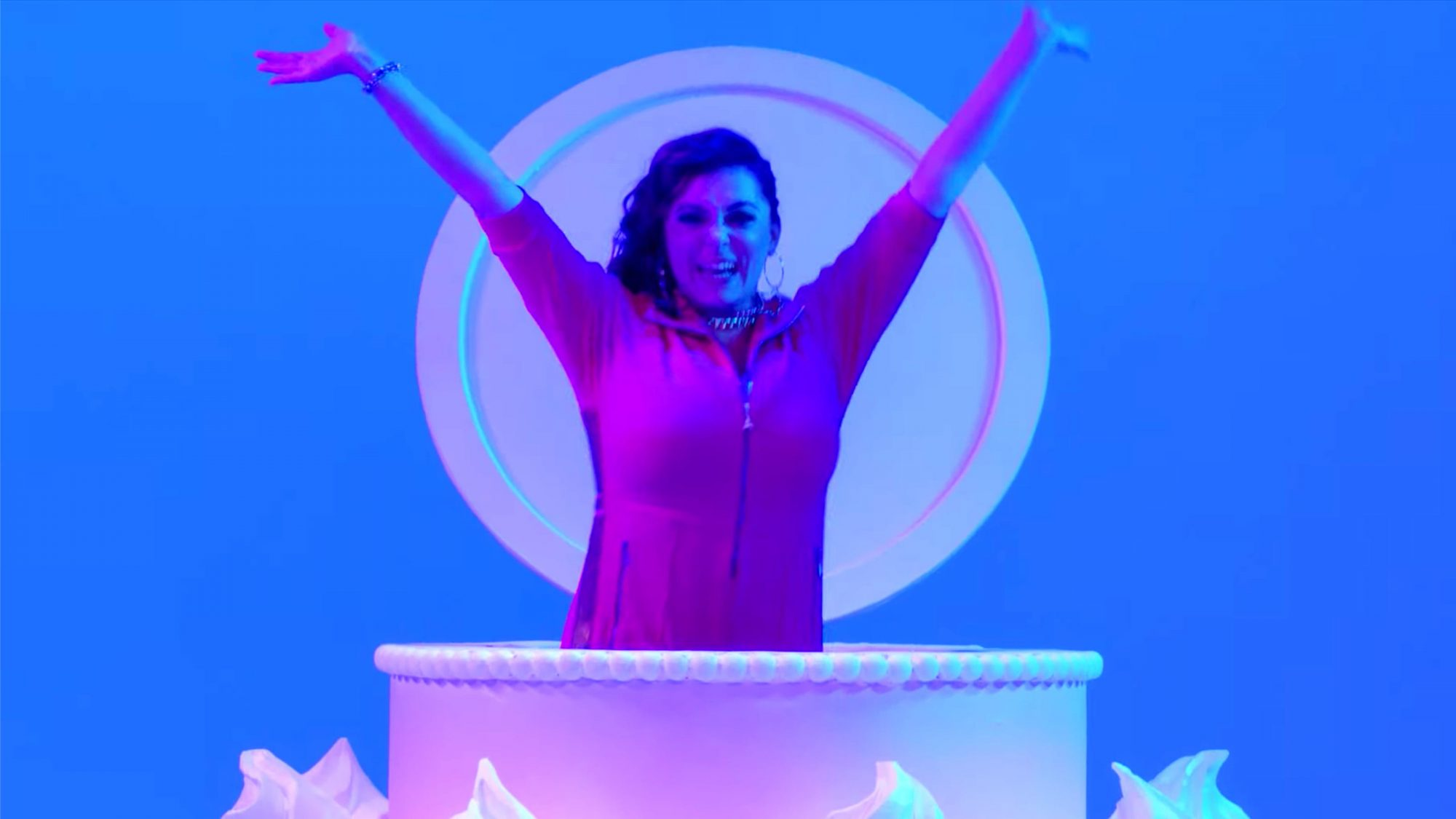 """I'm So Happy 4 U"" - Crazy Ex-Girlfriend (feat. Rachel Bloom) (screen grab) https://www.youtube.com/watch?v=nSTJ9xwNV0M CR: The CW"