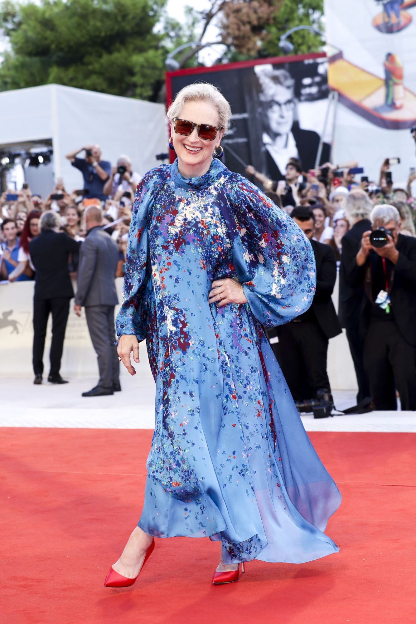"VENICE, ITALY - SEPTEMBER 01: Meryl Streep walks the red carpet ahead of the ""The Laundromat"" screening during the 76th Venice Film Festival at Sala Grande on September 01, 2019 in Venice, Italy. (Photo by Vittorio Zunino Celotto/Getty Images)"
