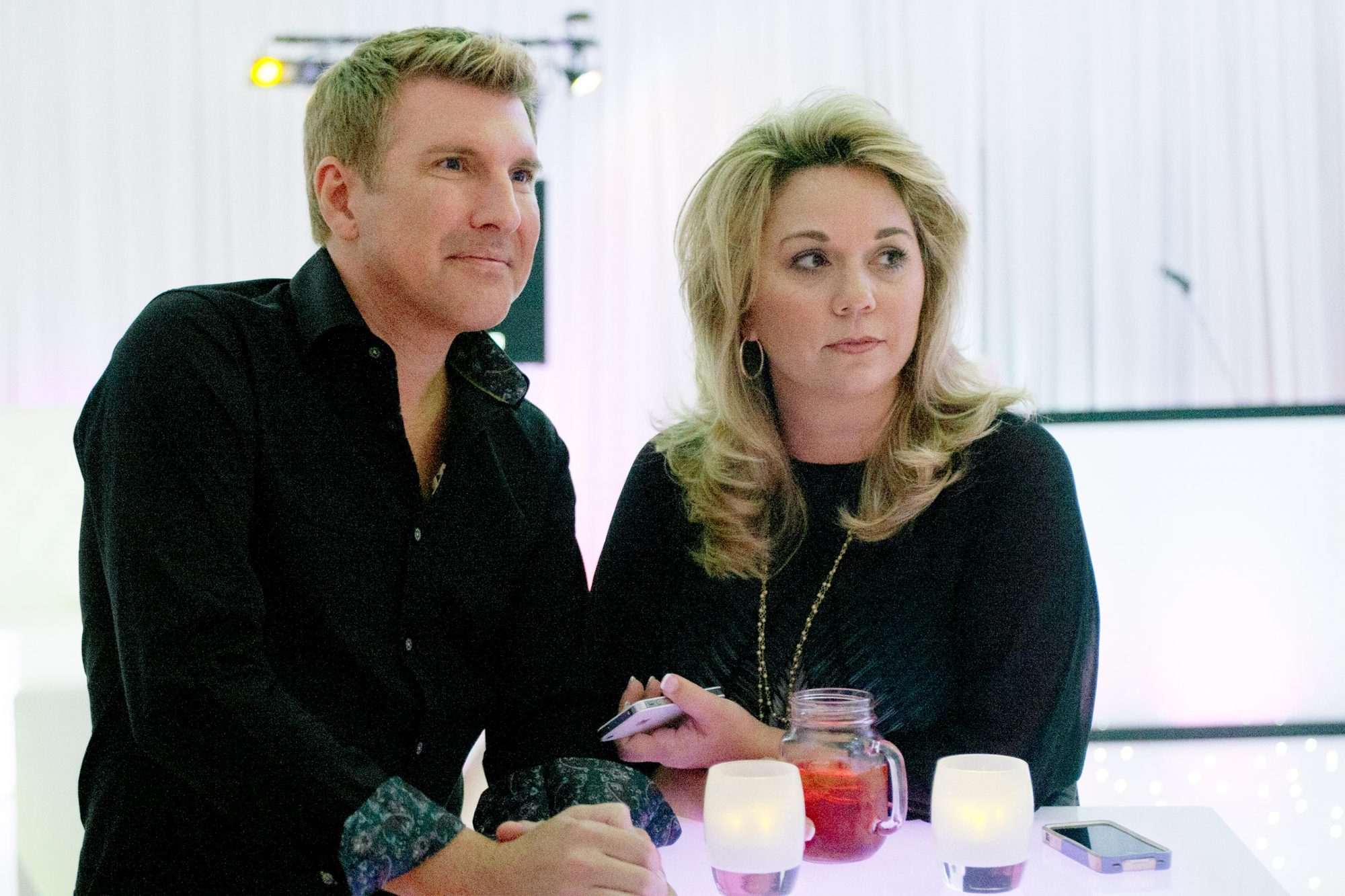 "CHRISLEY KNOWS BEST --""Not So Sweet Sixteen"" Episode 102 -- Pictured: (l-r) Todd Chrisley, Julie Chrisley -- (Photo by: Wilford Harewood/USA Network/NBCU Photo Bank via Getty Images)"