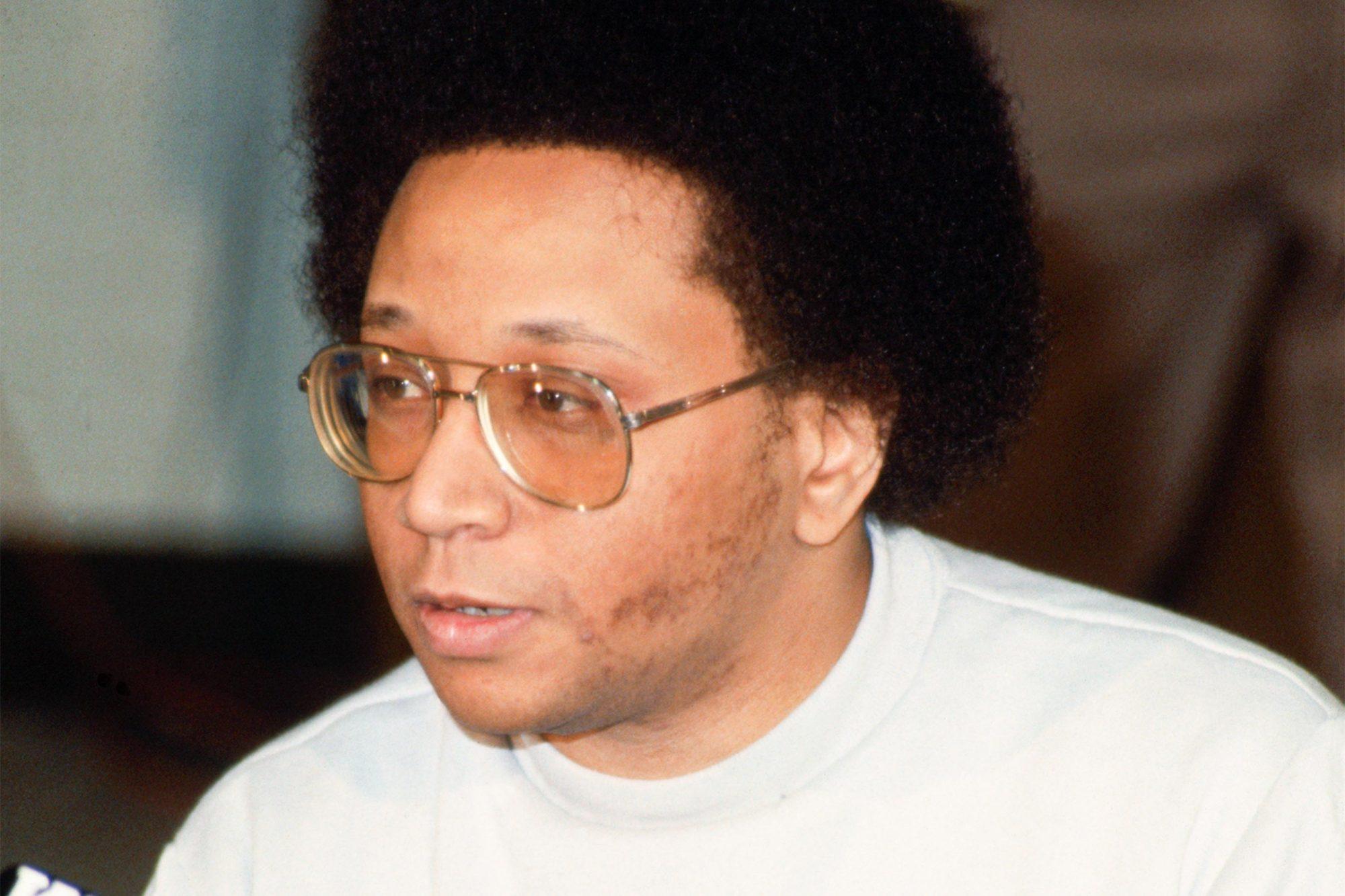 (Original Caption) Georgia: Close up of Wayne Williams, the convicted Atlanta child killer, giving a news conference at the Fulton County jail.