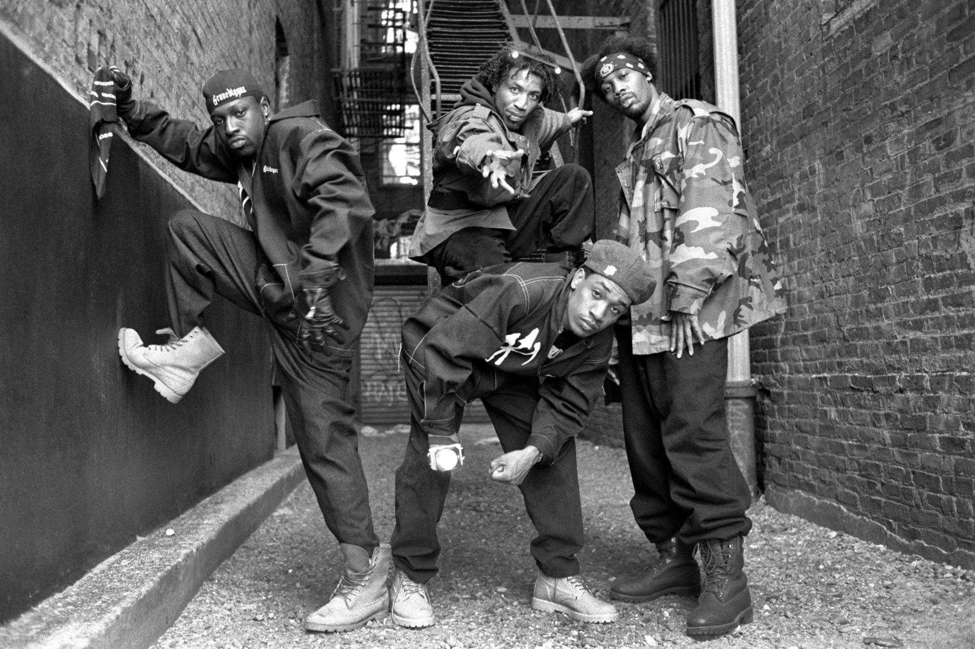 Group portrait of The Gravediggaz in Tribeca, New York City on 14 May 1994. L-R: The Gatekeeper (Frukwan), The Grym Reaper (Poetic), The Undertaker (Prince Paul) and The Rzarector (RZA). (Photo by David Corio/Redferns)