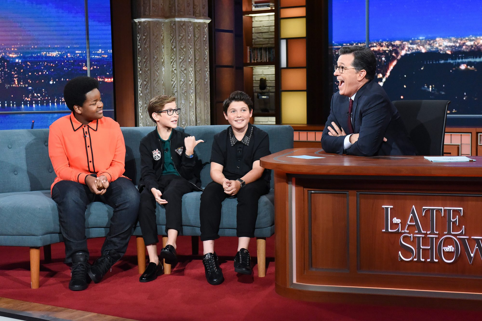The Late Show with Stephen Colbert and guests Jacob Tremblay, Brady Noon, Keith L. Williams during Wednesday's August 6, 2019