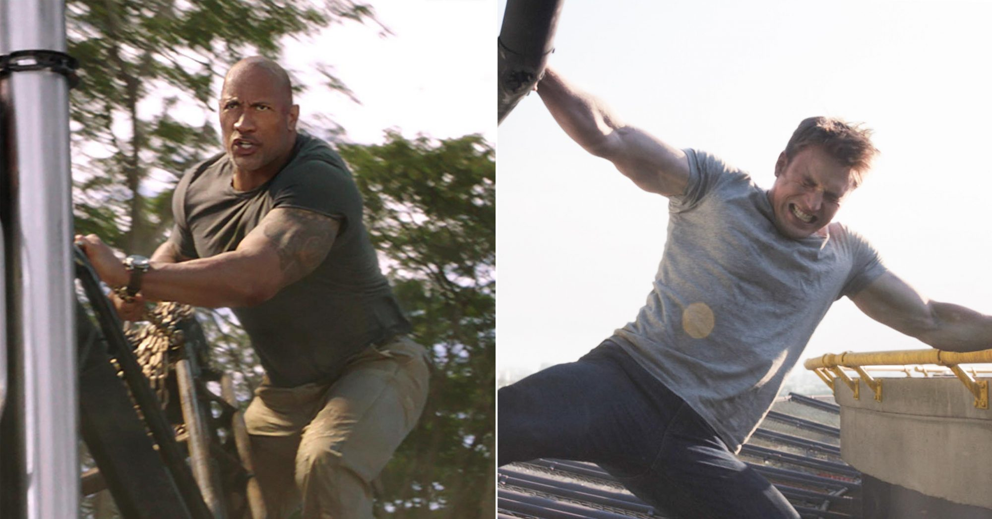 "Luke Hobbs (Dwayne Johnson) in ""Fast & Furious Presents: Hobbs & Shaw,"" directed by David Leitch. Photo Credit: Universal Pictures CAPTAIN AMERICA: CIVIL WAR, Chris Evans, 2016. ph: Zade Rosenthal / © Walt Disney Studios Motion Pictures / Courtesy Everett Collection"