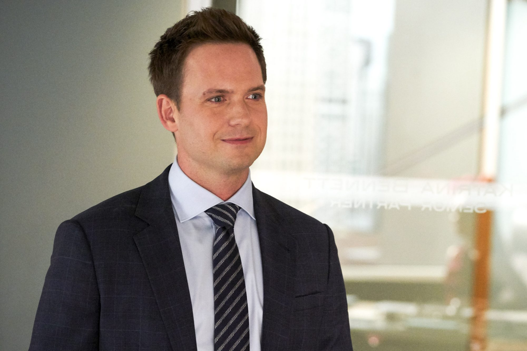SUITS -- Episode 905 -- Pictured: Patrick J. Adams -- (Photo by: Ian Watson/USA Network)
