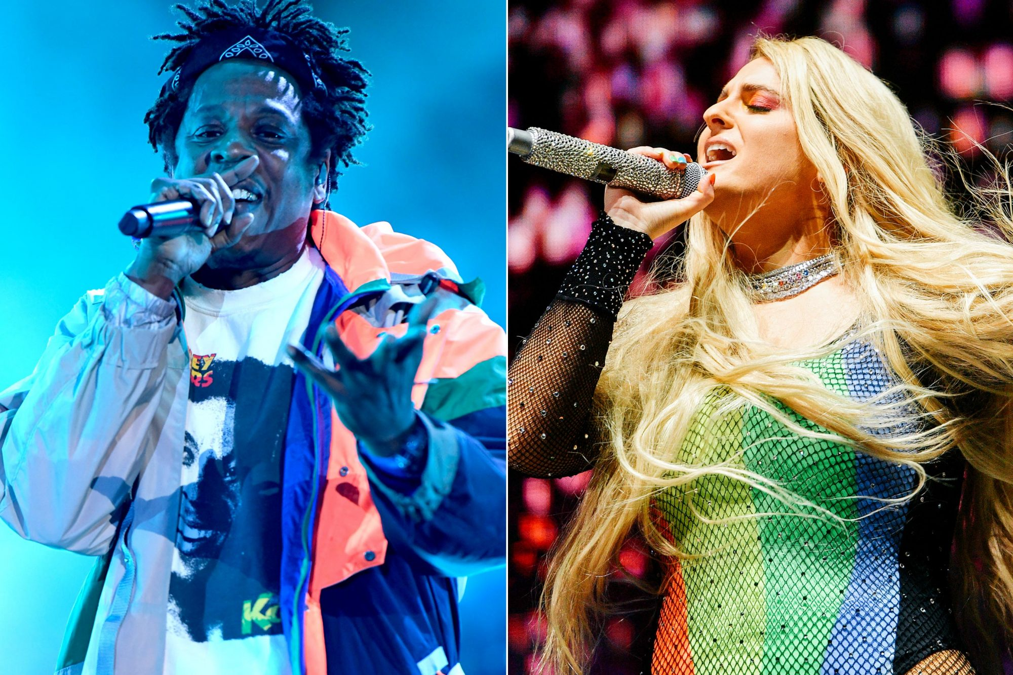 VIRGINIA BEACH, VIRGINIA - APRIL 27: Jay-Z performs onstage at SOMETHING IN THE WATER - Day 2 on April 27, 2019 in Virginia Beach City. (Photo by Craig Barritt/Getty Images for Something in the Water) WEST HOLLYWOOD, CALIFORNIA - JUNE 08: Meghan Trainor performs at the LA Pride 2019 on June 08, 2019 in West Hollywood, California. (Photo by Matt Winkelmeyer/Getty Images)
