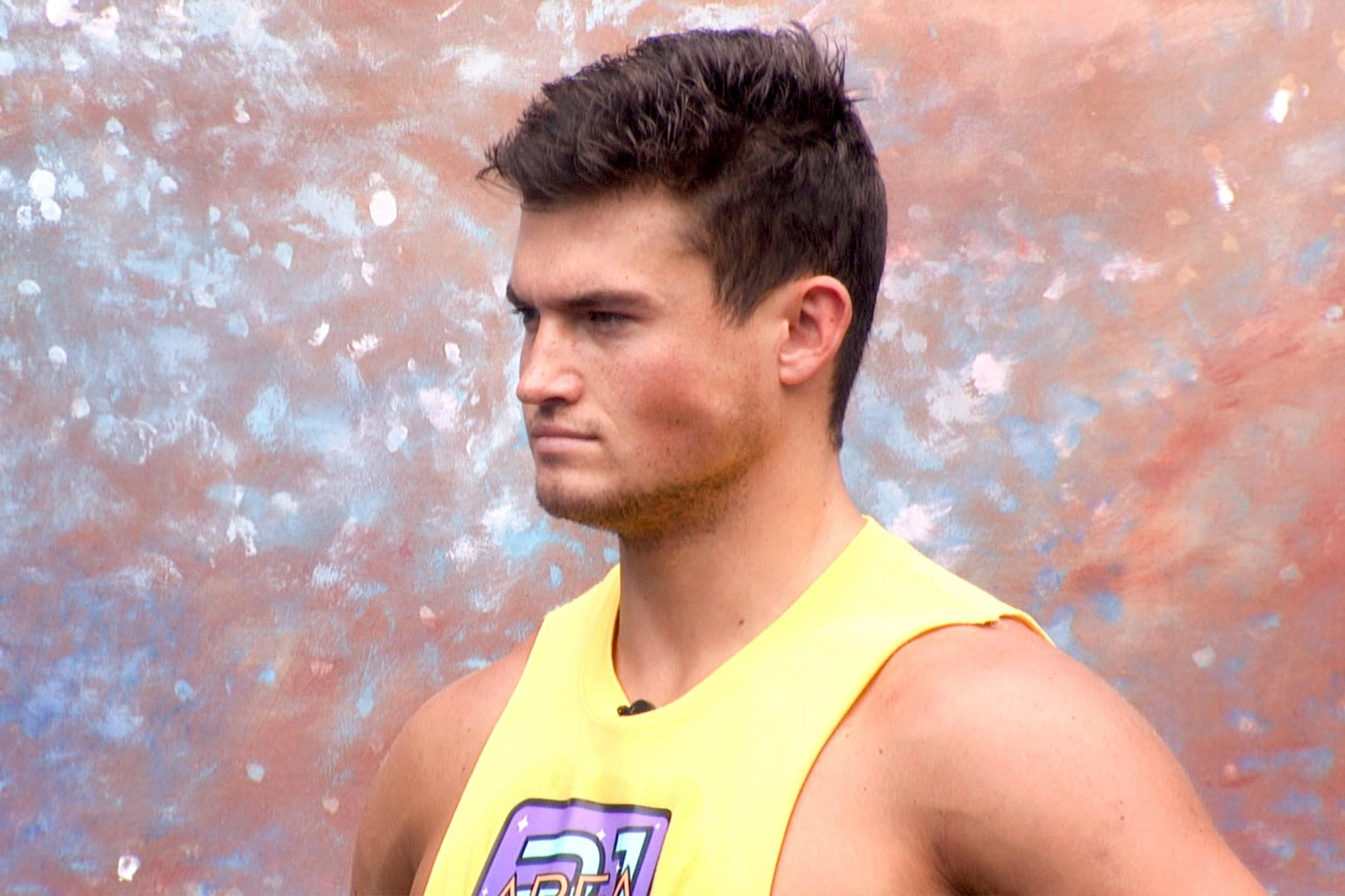 "Jackson Michie plays the Veto Comp ""Tossed In Space"" on Big Brother. BIG BROTHER airs Sundays and Wednesdays (8:00-9:00 PM, ET/PT); and Thursdays (9:00-10:00 PM, live ET/delayed PT), featuring the live eviction show. Photo: screengrab/CBS ©2019 CBS Broadcasting, Inc. All Rights Reserved"