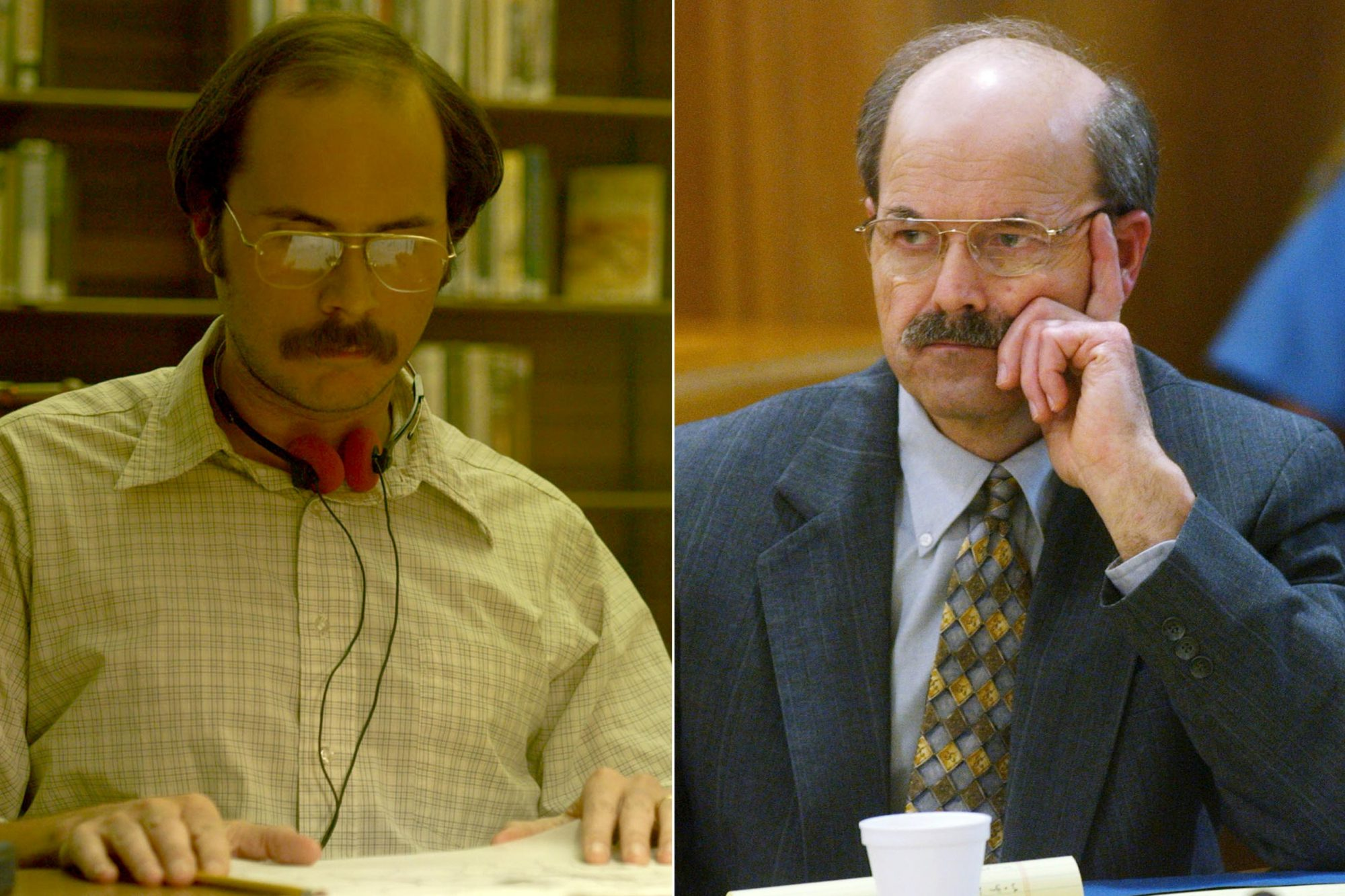 Mindhunter Season 2 (screen grab) CR: Netflix WICHITA, KS - AUGUST 17: Confessed serial killer Dennis Rader, known as BTK, listens to testimony in the sentening phase of his trial in Sedgwick County Court August 17, 2005 in Wichita, Kansas. Rader, of Park City, Kansas, has pleaded guilty to 10 counts of murder for killings which spanned three decades. (Photo by Bo Rader-Pool/Getty Images)
