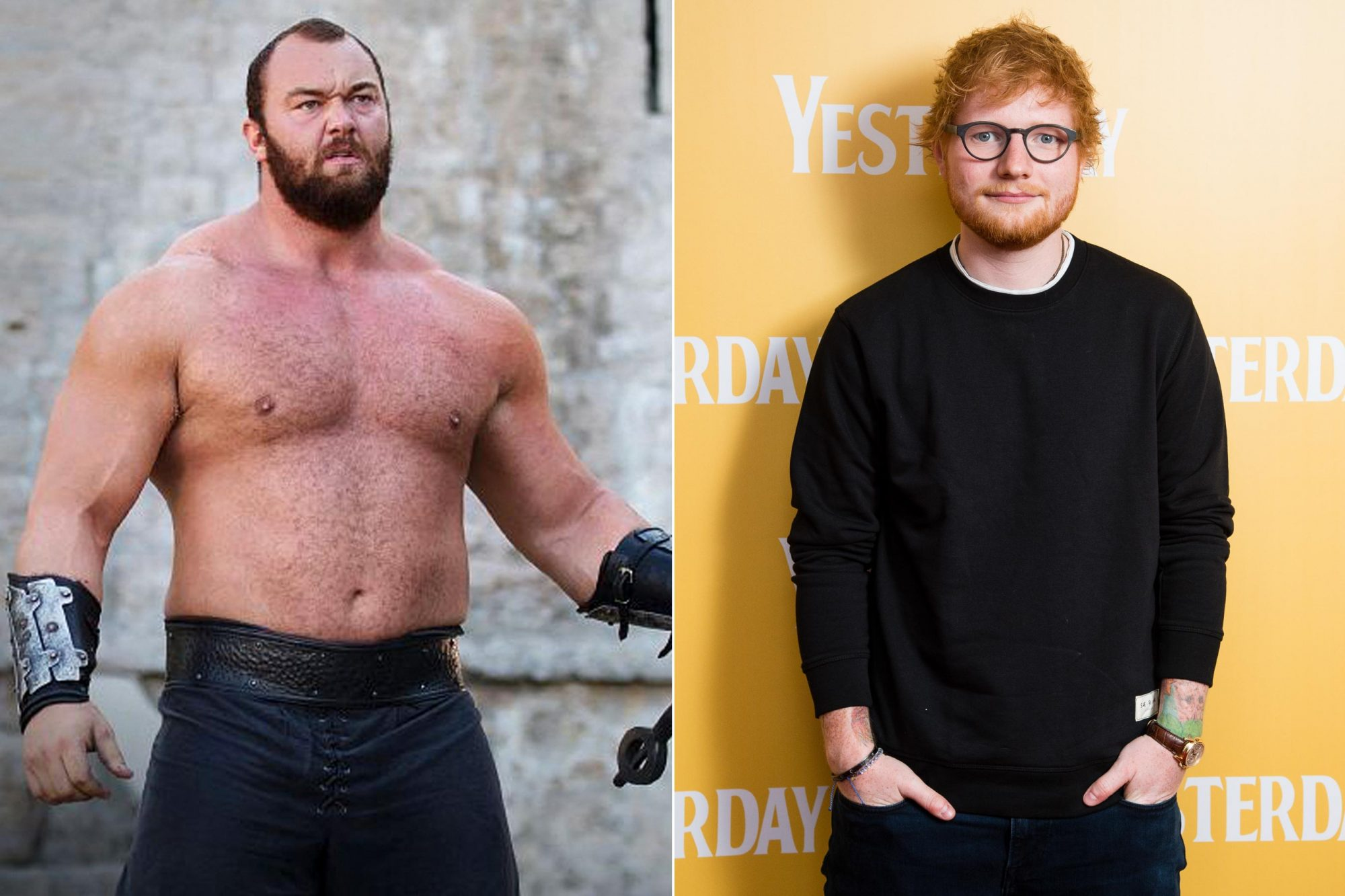 Game of Thrones Hafþór Júlíus Björnsson as The Mountain GORLESTON-ON-SEA, ENGLAND - JUNE 21: Ed Sheeran attends special screening of Yesterday on June 21, 2019 in Gorleston-on-Sea, England. (Photo by Jeff Spicer/Getty Images for Universal Pictures International)