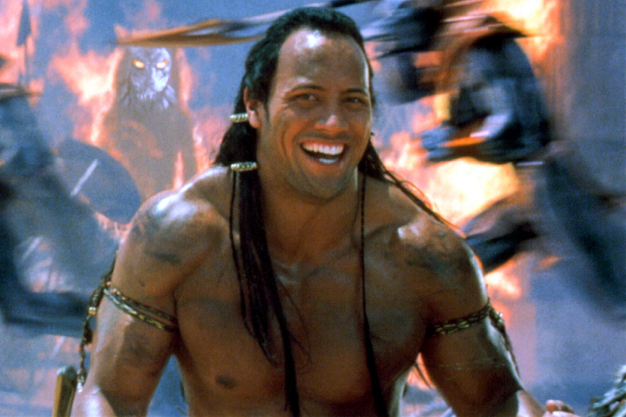 """MUMMY RETURNS, The Rock in the scene that was the prequel to """"Scorpion King"""", 2001"""