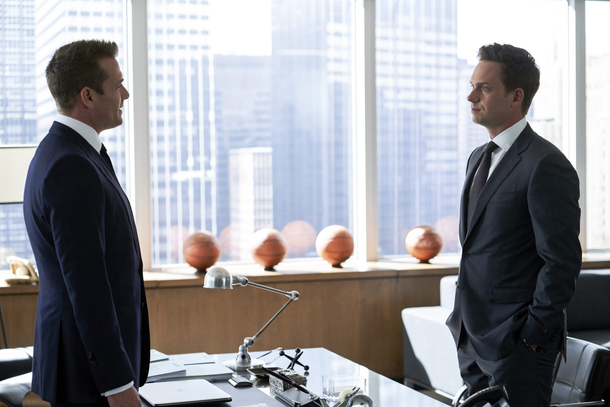 "SUITS -- ""If the Shoe Fits"" Episode 905 -- Pictured: (l-r) Gabriel Macht and Patrick J. Adams -- (Photo by: Shane Mahood/USA Network)"