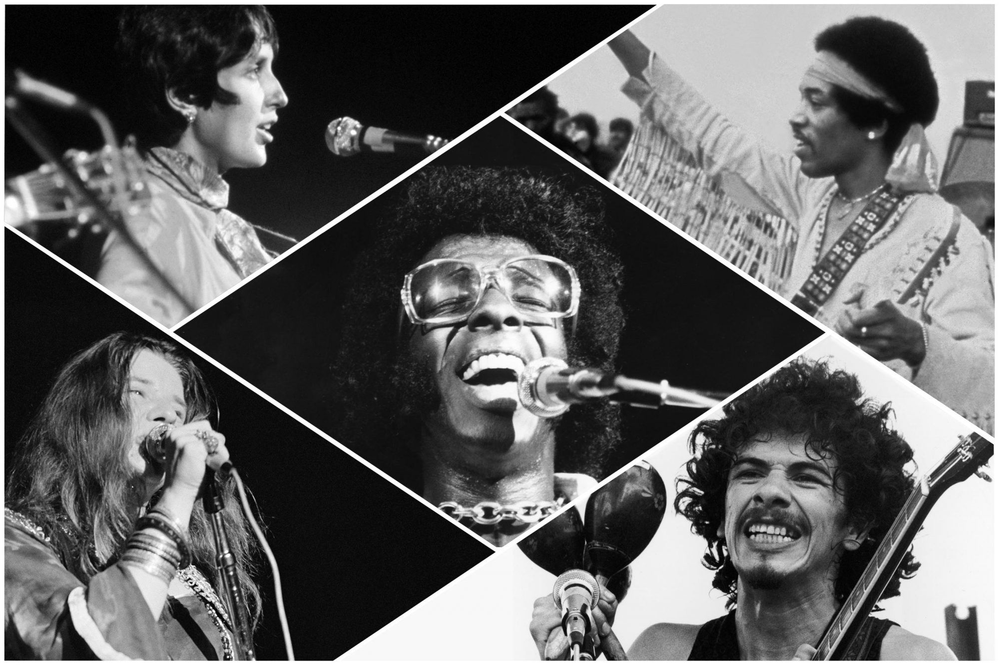 Joan Baez, Family Stone, Jimi Hendrix, Carlos Santana, Janis Joplin