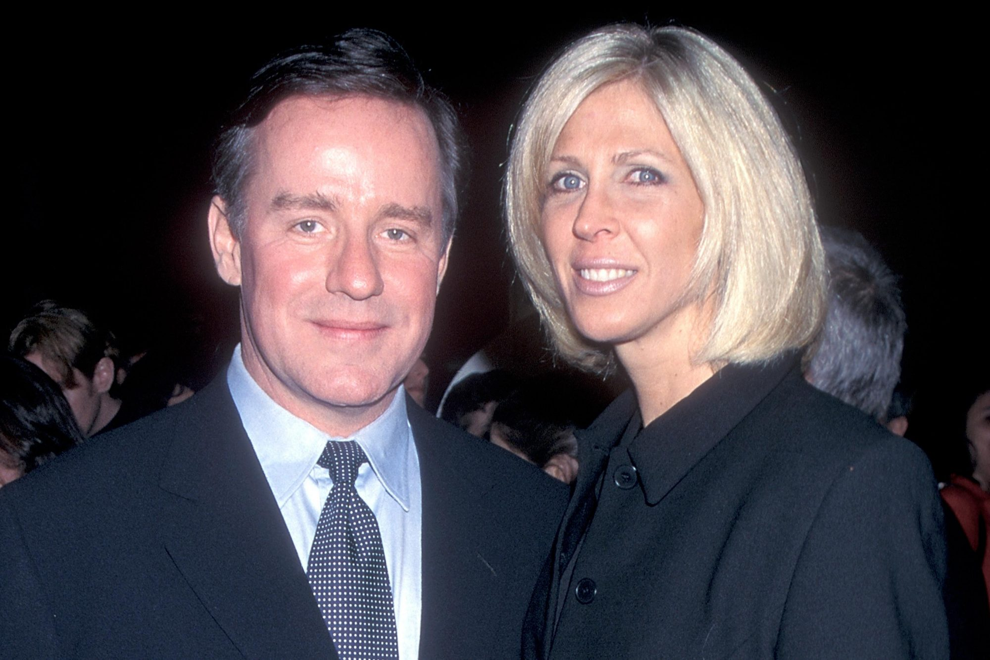 """UNIVERSAL CITY, CA - MARCH 27: Actor Phil Hartman and wife Brynn attend the """"Sgt. Bilko"""" Universal City Premiere on March 27, 1996 at the Cineplex Odeon Universal City Cinemas in Universal City, California. (Photo by Ron Galella, Ltd./Ron Galella Collection via Getty Images)"""