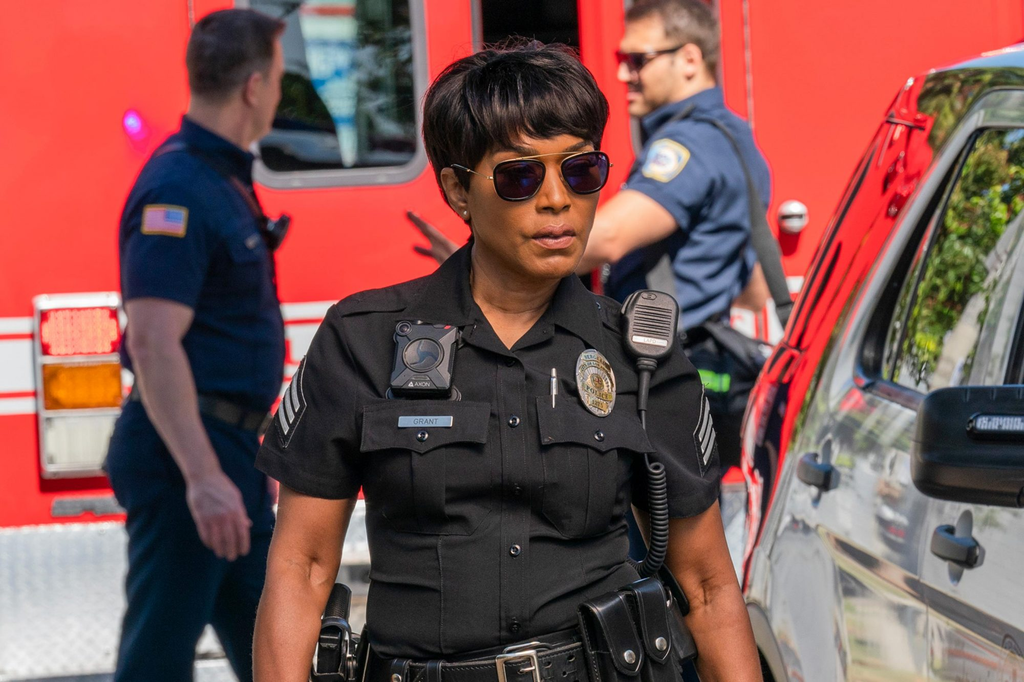 "9-1-1: Angela Bassett in the ""Kids Today"" season premiere episode of 9-1-1 airing Monday, Sep. 23 (8:00-9:00 PM ET/PT) on FOX. © 2019 FOX MEDIA LLC. CR: Jack Zeman / FOX."