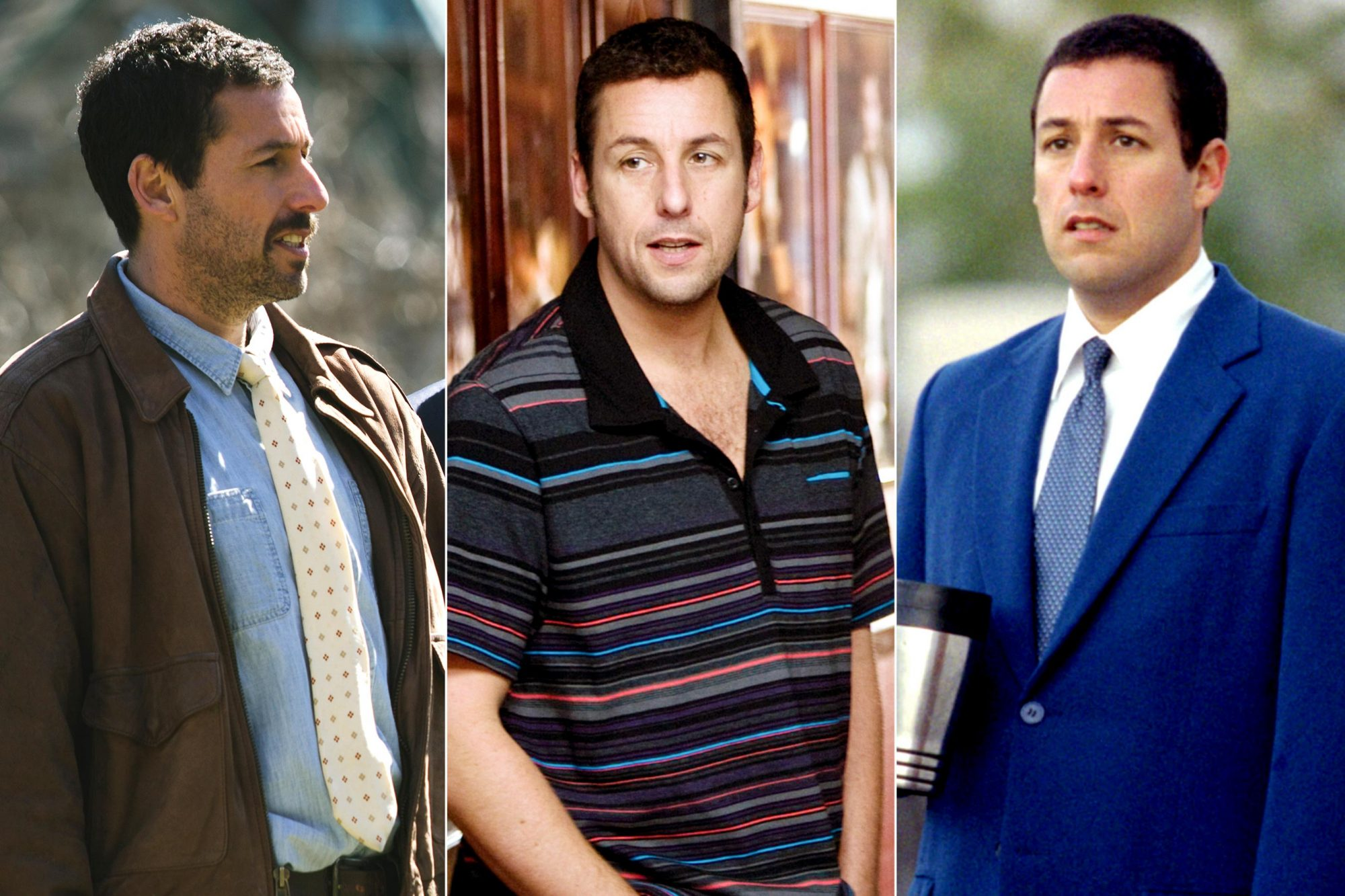 (Left to right) Adam Sandler and Ben Stiller in Director Noah Baumbach's THE MEYEROWITZ STORIES (NEW AND SELECTED) to be released by Netflix. FUNNY PEOPLE, from left: Adam Sandler, Seth Rogen, 2009. Ph: Tracy Bennett/©Universal/courtesy Everett Collection PUNCH-DRUNK LOVE, Adam Sandler, 2002, (c) Columbia/courtesy Everett Collection