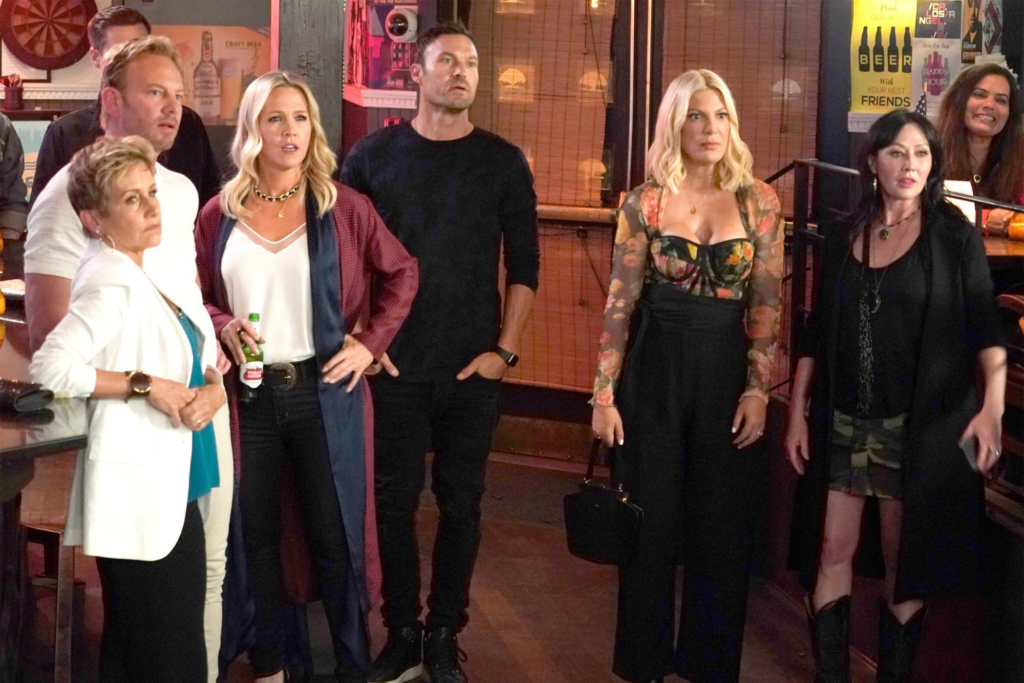 "BH90210: L-R: Gabrielle Carteris, Ian Ziering, Jennie Garth, Brian Austin Green, Tori Spelling and Shannen Doherty in the BH90210 ""Long Wait"" season finale episode airing Wednesday, Sept. 11 (9:00-10:00 PM ET/PT) on FOX. ©2019 Fox Media LLC Cr: Shane Harvey/FOX"