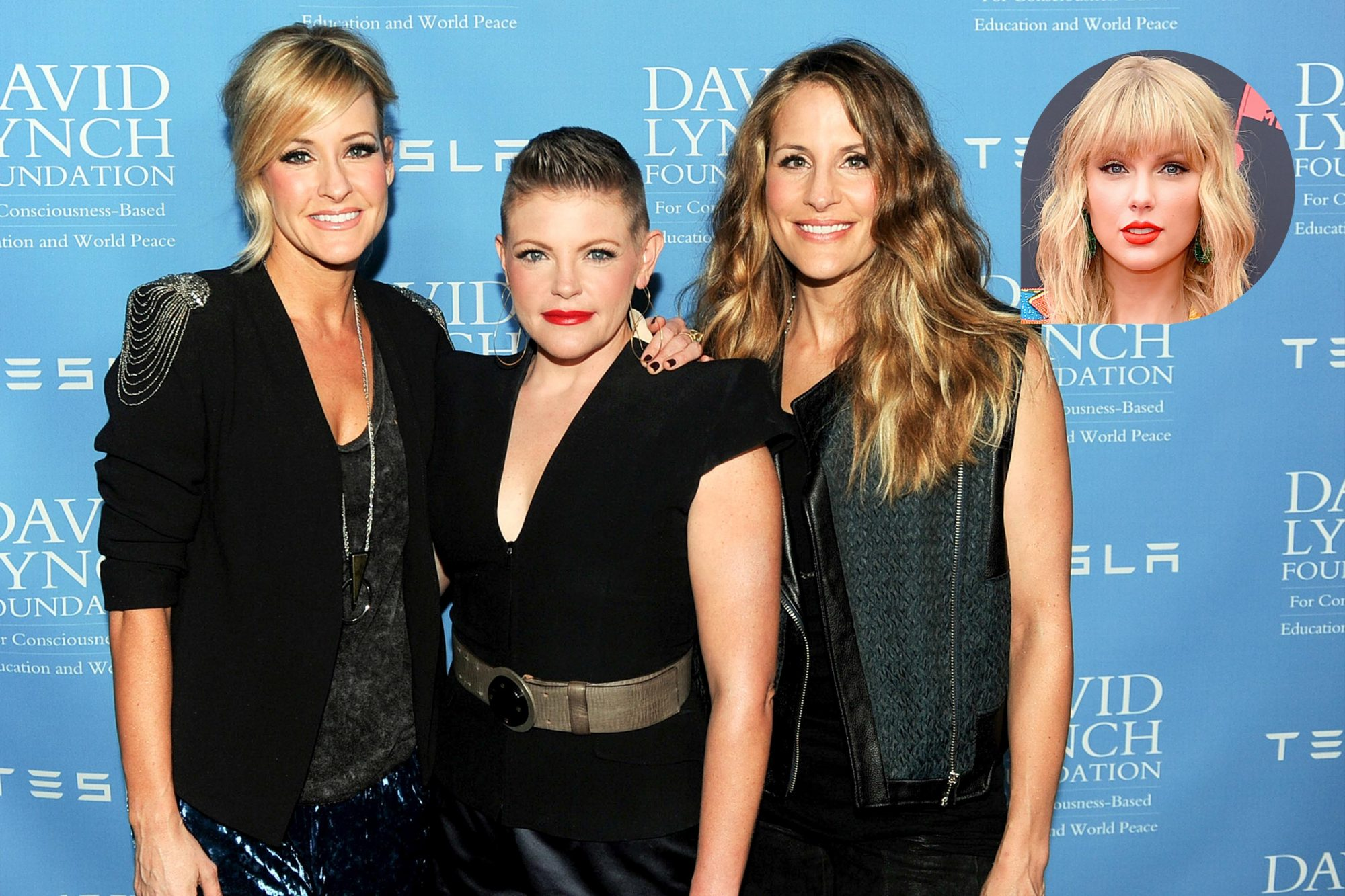 BEVERLY HILLS, CA - FEBRUARY 27: (L-R) Musicians Martie Maguire, Natalie Maines and Emily Robison of the Dixie Chicks arrive at the David Lynch Foundation Gala Honoring Rick Rubin at the Beverly Wilshire Hotel on February 27, 2014 in Beverly Hills, California. (Photo by Kevin Winter/Getty Images) NEWARK, NEW JERSEY - AUGUST 26: Taylor Swift attends the 2019 MTV Video Music Awards at Prudential Center on August 26, 2019 in Newark, New Jersey. (Photo by Jamie McCarthy/Getty Images for MTV)