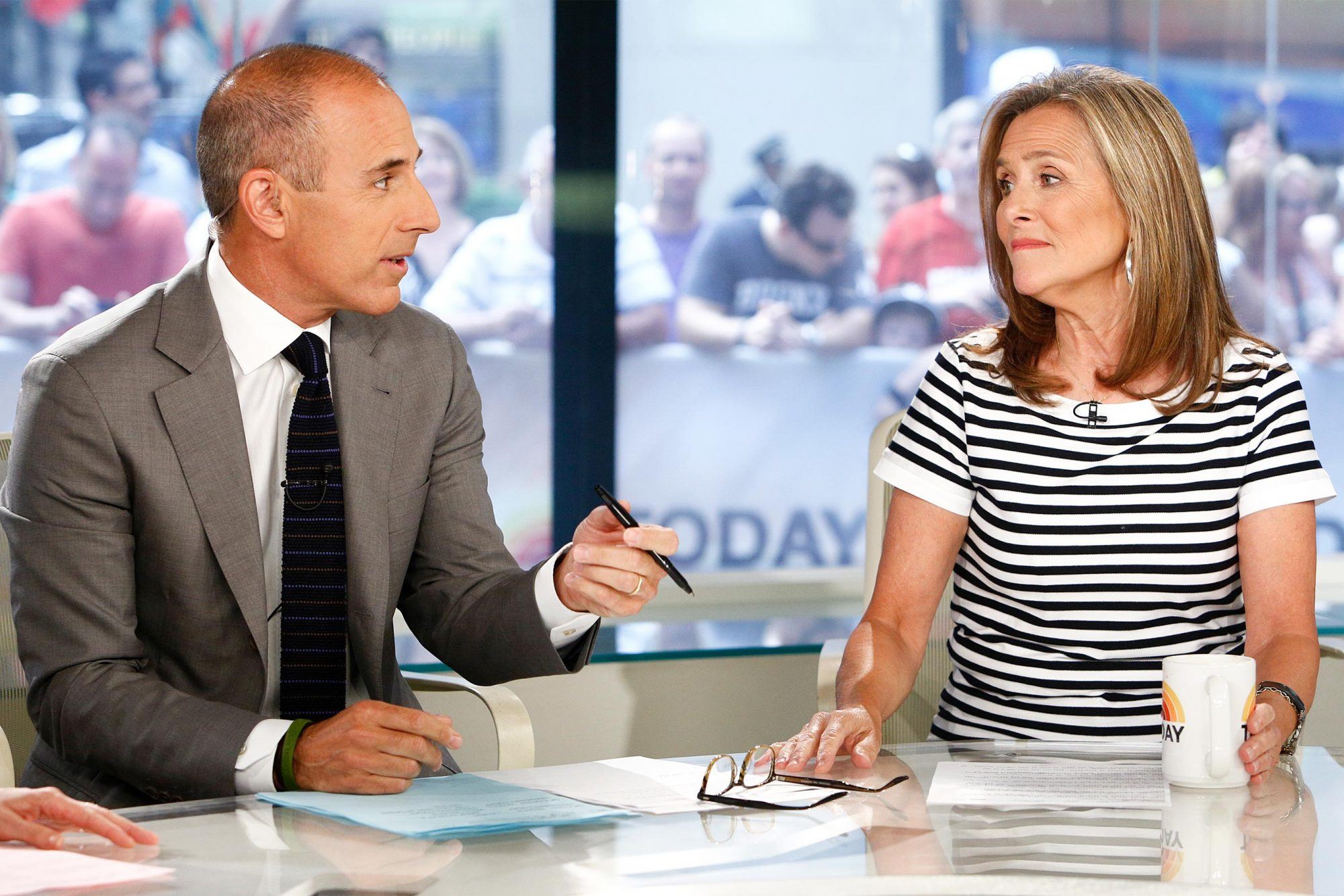 """TODAY -- Pictured: (l-r) Matt Lauer and Meredith Vieira appear on NBC News' """"Today"""" show -- (Photo by: Peter Kramer/NBC/NBC NewsWire via Getty Images)"""