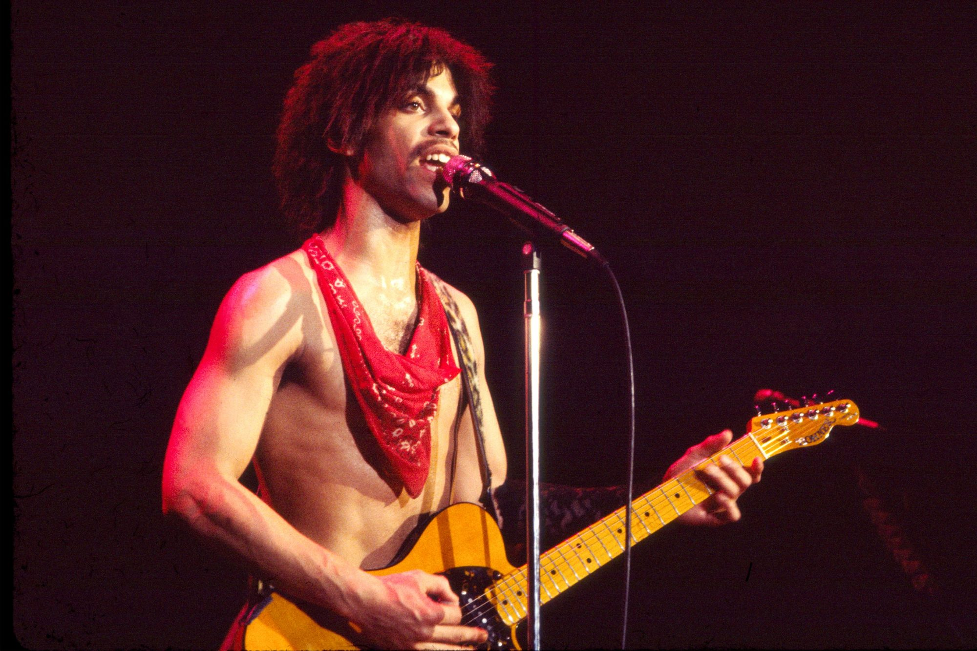 American musician Prince (1958 - 2016) plays guitar as he performs onstage at the Ritz during his 'Dirty Mind' tour, New York, New York, March 22, 1981. (Photo by Gary Gershoff/Getty Images)
