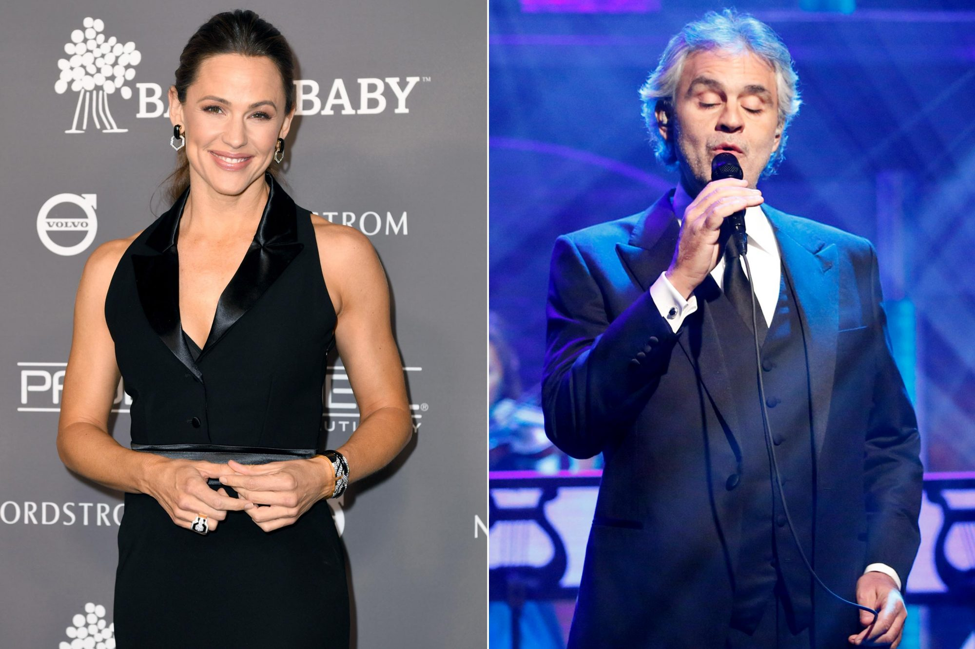 CULVER CITY, CA - NOVEMBER 10: Jennifer Garner attends the 2018 Baby2Baby Gala Presented by Paul Mitchell at 3LABS on November 10, 2018 in Culver City, California. (Photo by Emma McIntyre/Getty Images) LATE NIGHT WITH SETH MEYERS -- Episode 300 -- Pictured: Musical guest Andrea Bocelli performs on December 10, 2015 -- (Photo by: Jon Pack/NBC/NBCU Photo Bank via Getty Images)