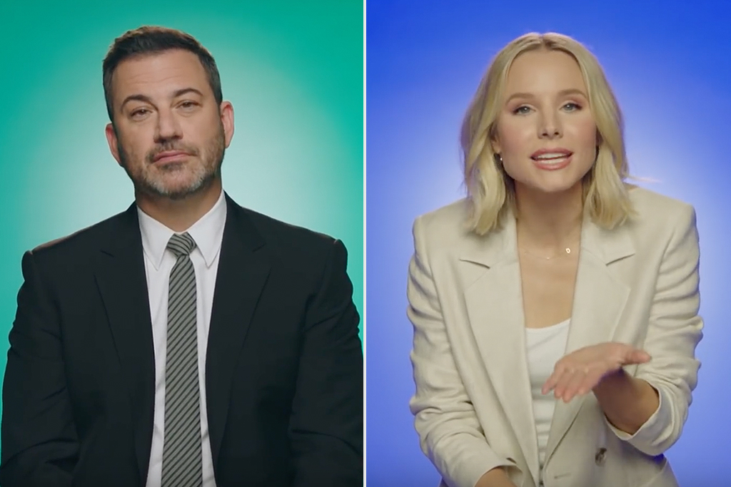 Jimmy Kimmel and Kristen Bell in this PSA from John Oliver