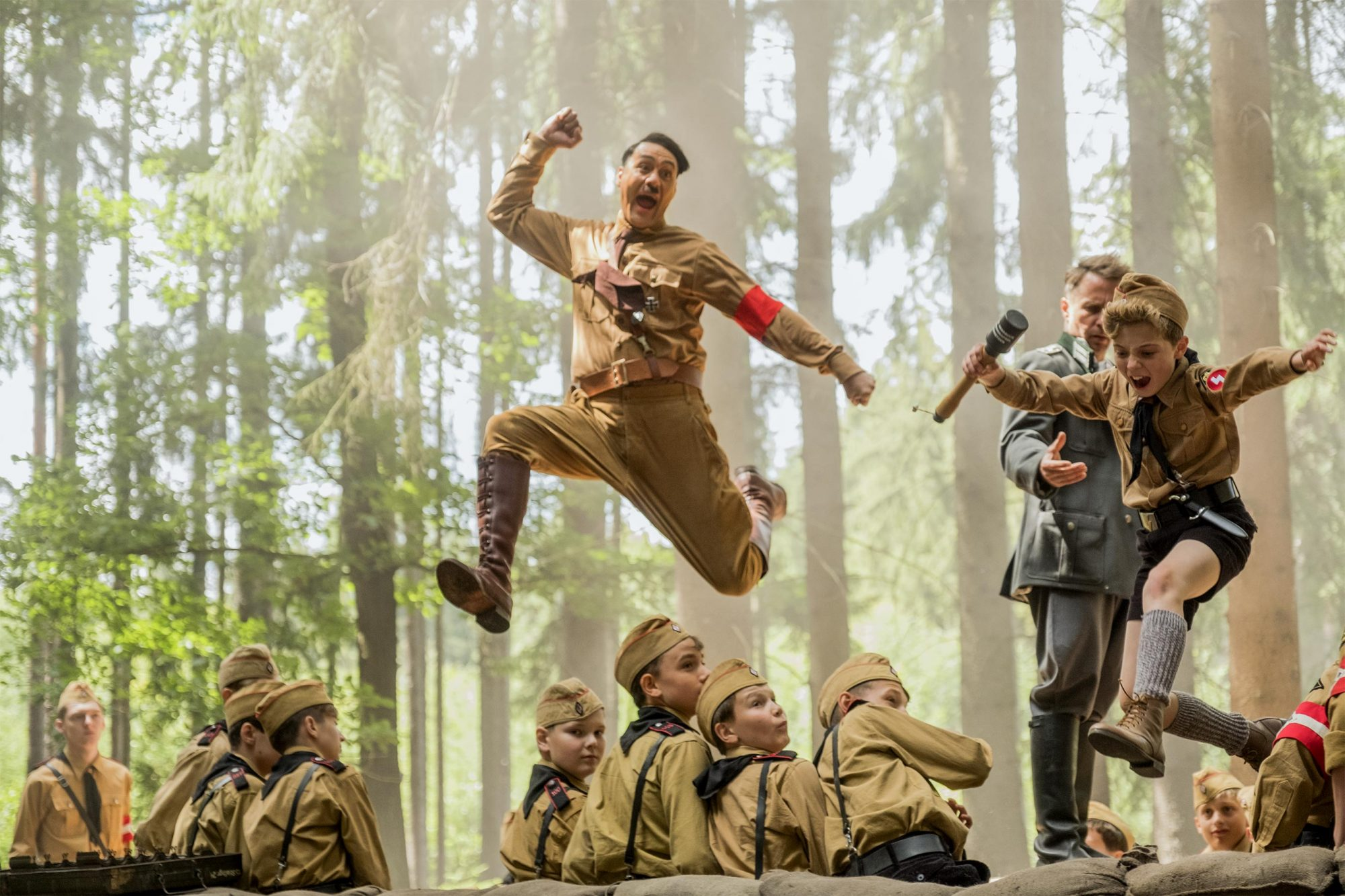 Taika Waititi and Roman Griffin Davis in the film JOJO RABBIT. Photo by Kimberley French. © 2019 Twentieth Century Fox Film Corporation All Rights Reserved CR: Kimberley French/Twentieth Century Fox