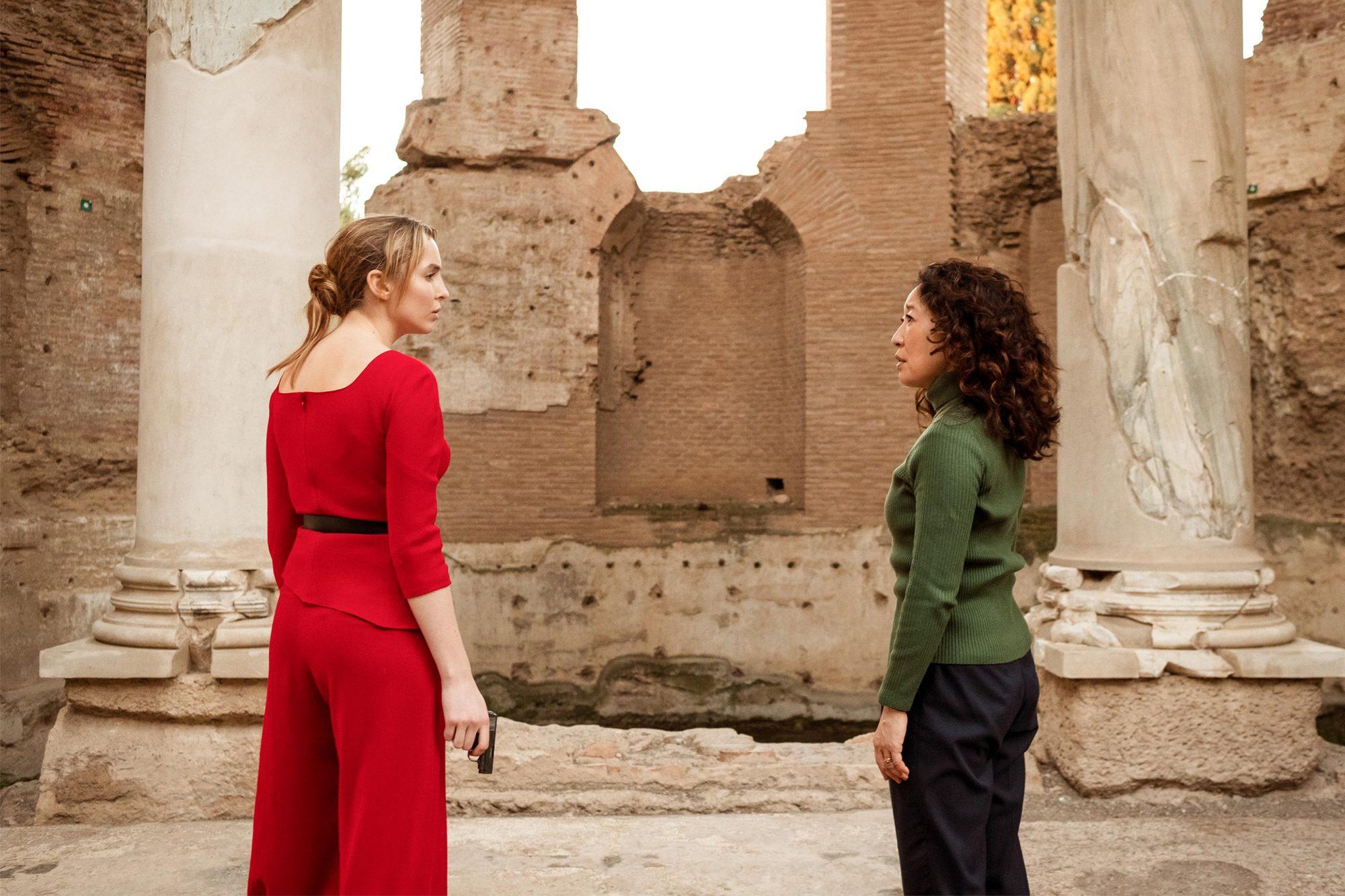 Sandra Oh as Eve Polastri, Jodie Comer as Villanelle- Killing Eve _ Season 2, Episode 8 - Photo Credit: Gareth Gatrell/BBCAmerica