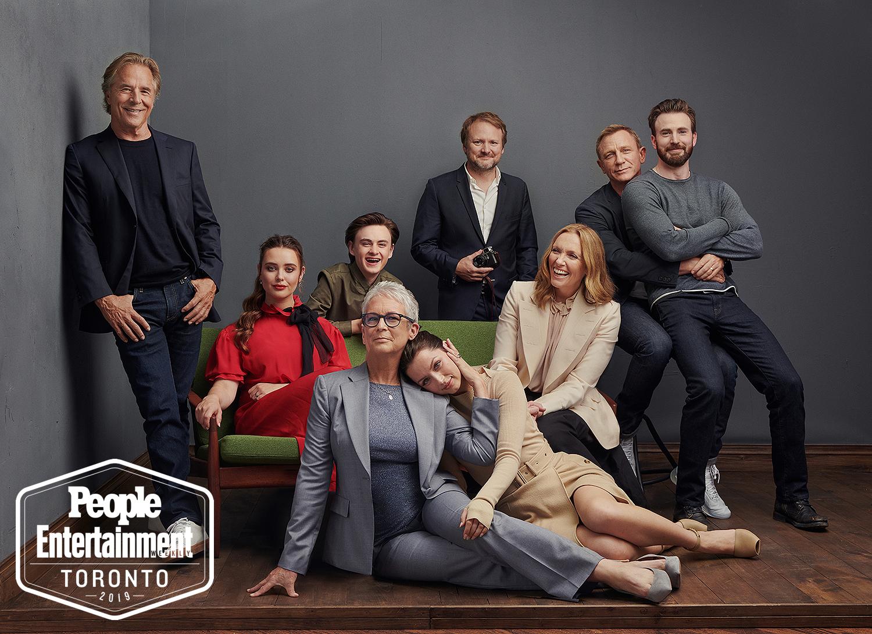 Don Johnson, Katherine Langford, Jaeden Martell, Rian Johnson (director), Daniel Craig, Chris Evans, Ana de Armas, Jamie Lee Curtis, Toni Collette of Knives Out