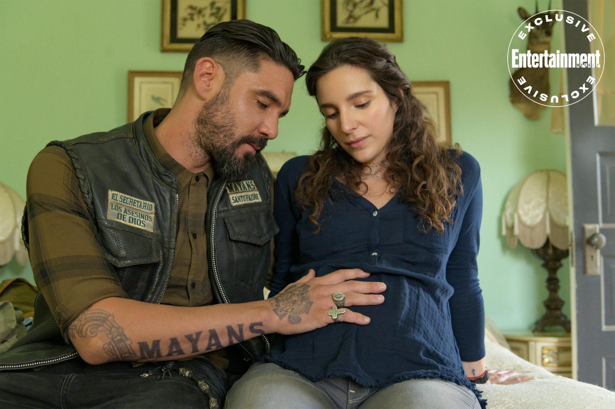 MAYANS M.C. -- Pictured: (i-r) Clayton Cardenas as Angel Reyes, Carla Baratta as Adelita. CR: Prashant Gupta/FX