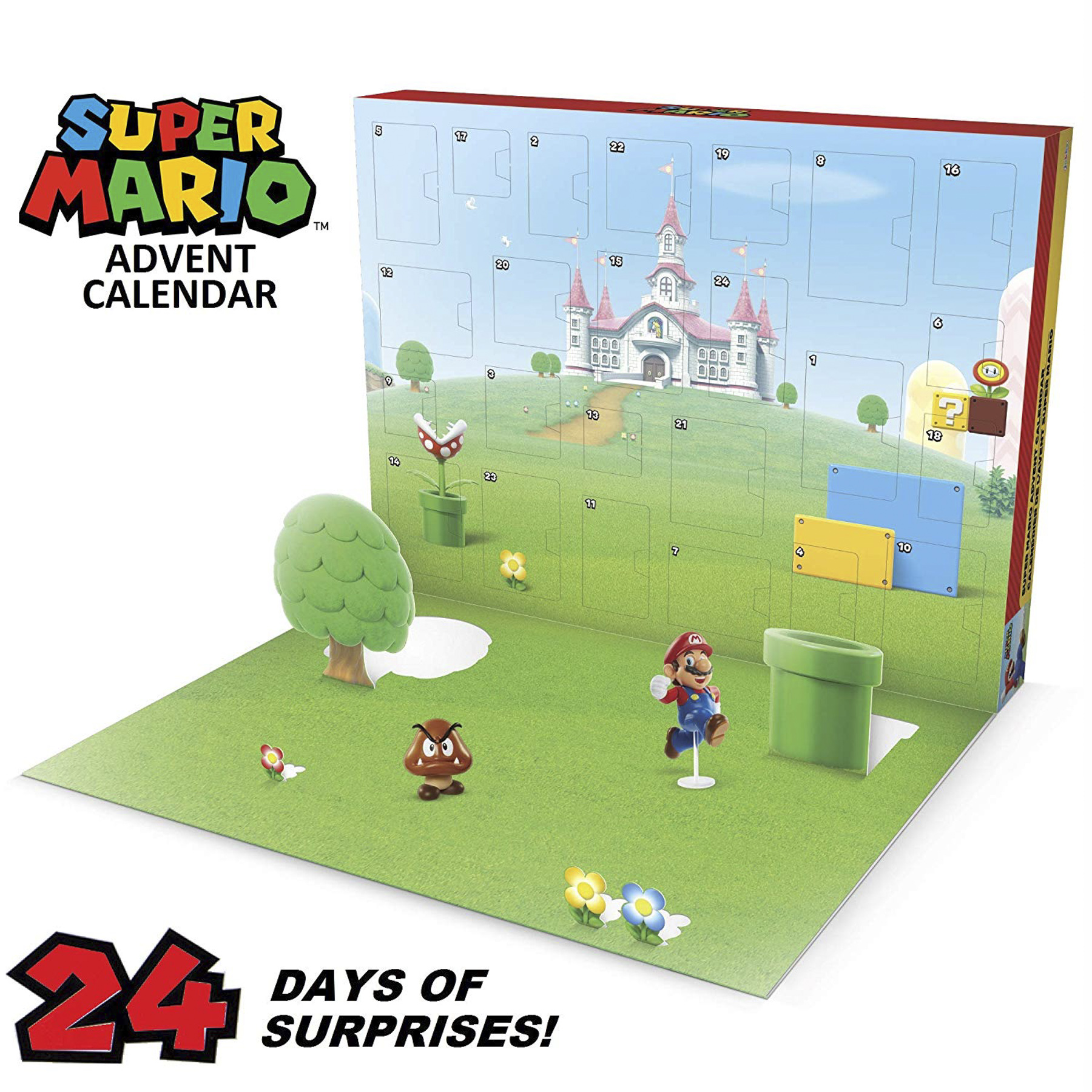 """Nintendo Advent Calendar Super Mario Christmas Holiday Calendar with 17 Articulated 2.5"""" Action Figures & 7 Accessories, 24 Day Surprise Countdown with Pop-Up Environment [Amazon Exclusive] CR: Amazon"""