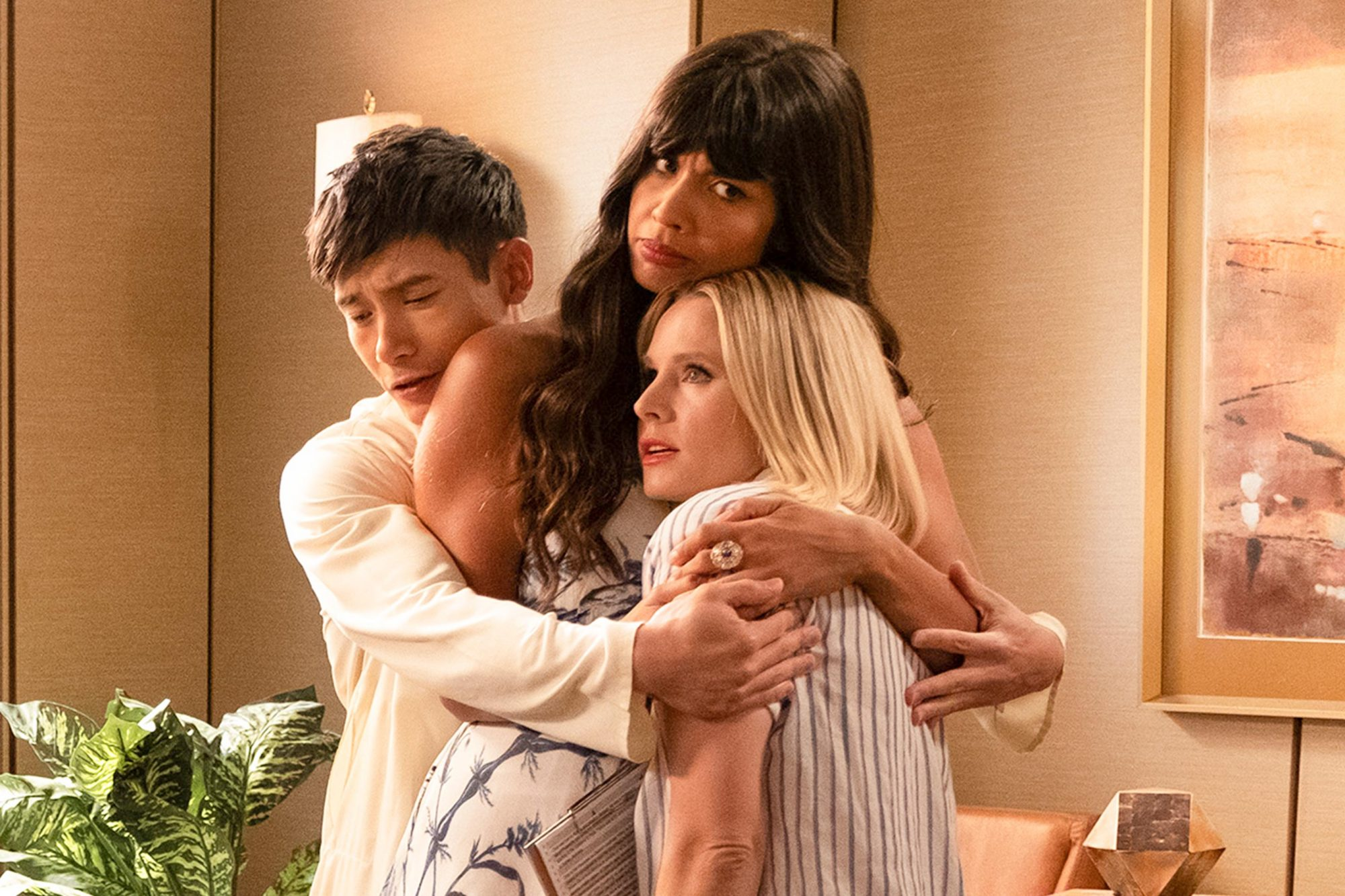 "THE GOOD PLACE -- ""A Girl From Arizona"" Episode 401/402 -- Pictured: (l-r) Ted Danson as Michael, D'Arcy Carden as Janet, Manny Jacinto as Jason, Jameela Jamil as Tahani, Kristen Bell as Eleanor -- (Photo by: Colleen Hayes/NBC)"