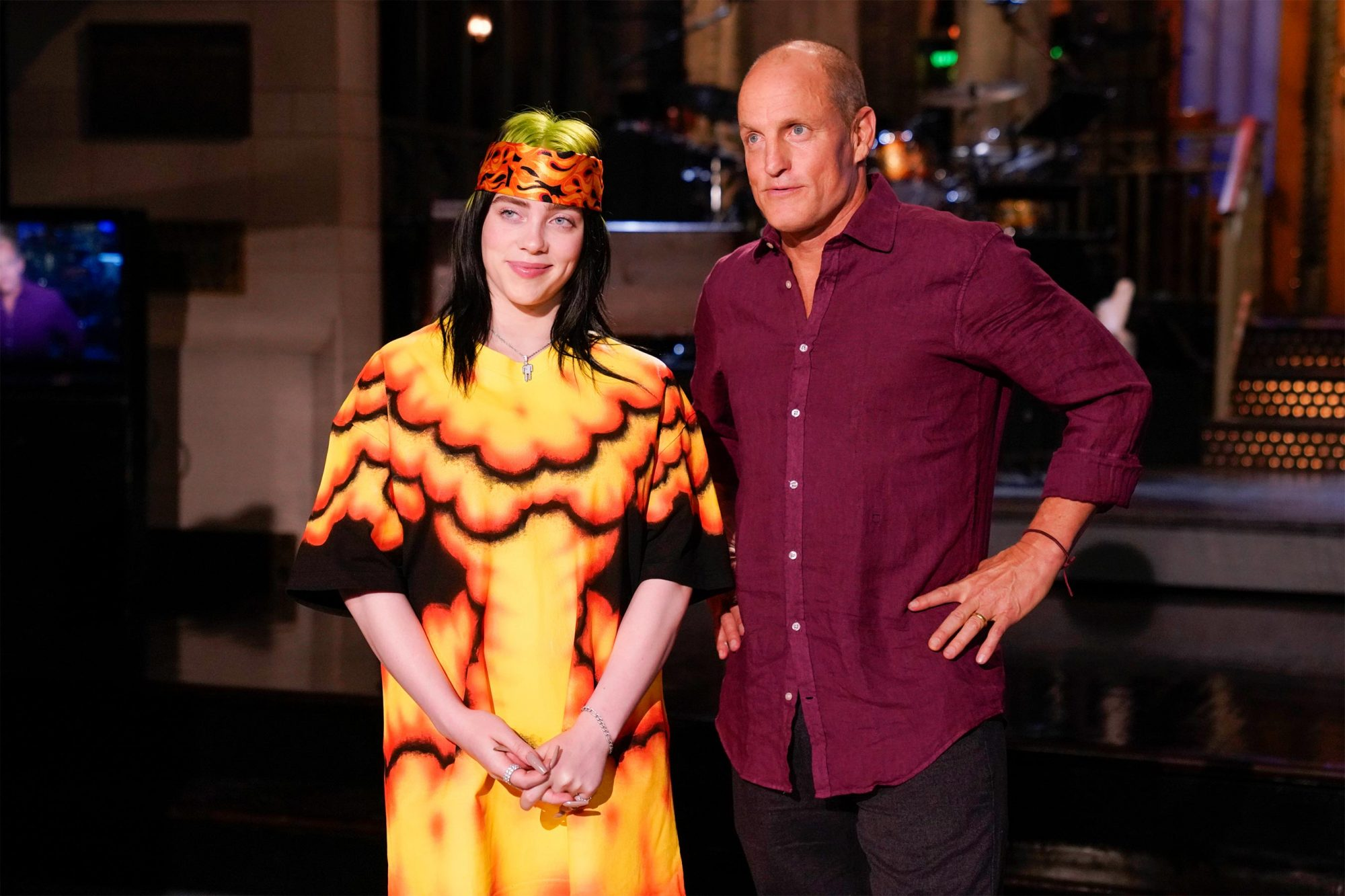 "SATURDAY NIGHT LIVE -- ""Woody Harrelson"" Episode 1768 -- Pictured: (l-r) Musical guest Billie Eilish and host Woody Harrelson during promos in Studio 8H on September 26, 2019 -- (Photo by: Rosalind O'Connor/NBC)"