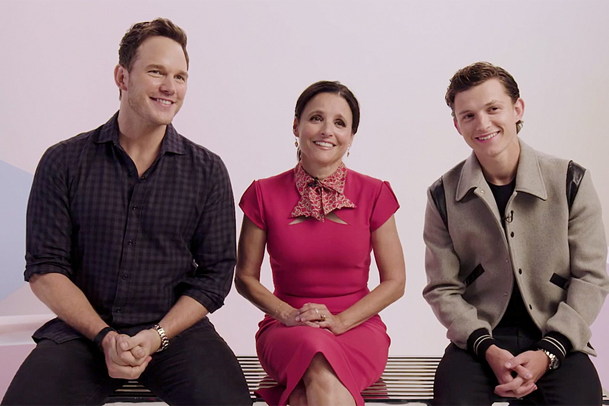 Chris Pratt, Julia Louis Drefus, and Tom Holland