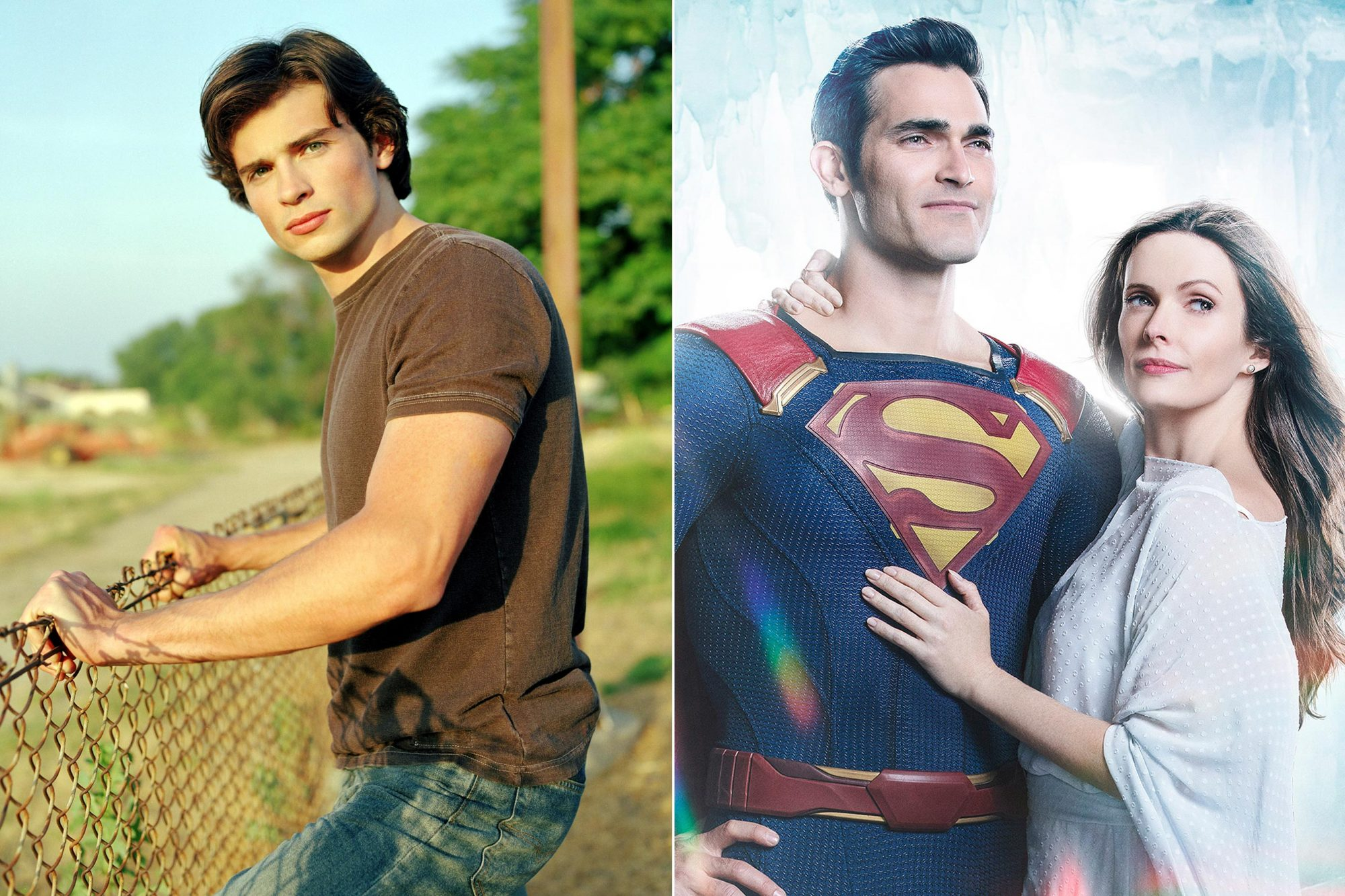 SMALLVILLE, Tom Welling, (Season 1), 2001-2011. © WB / Courtesy: Everett Collection Supergirl -- Image Number: Superman-Lois_Firstlook.jpg -- Pictured (L-R): Tyler Hoechlin as Superman and Bitsie Tulloch as Lois Lane -- Photo: Katie Yu/The CW -- © 2018 The CW Network, LLC. All Rights Reserved.