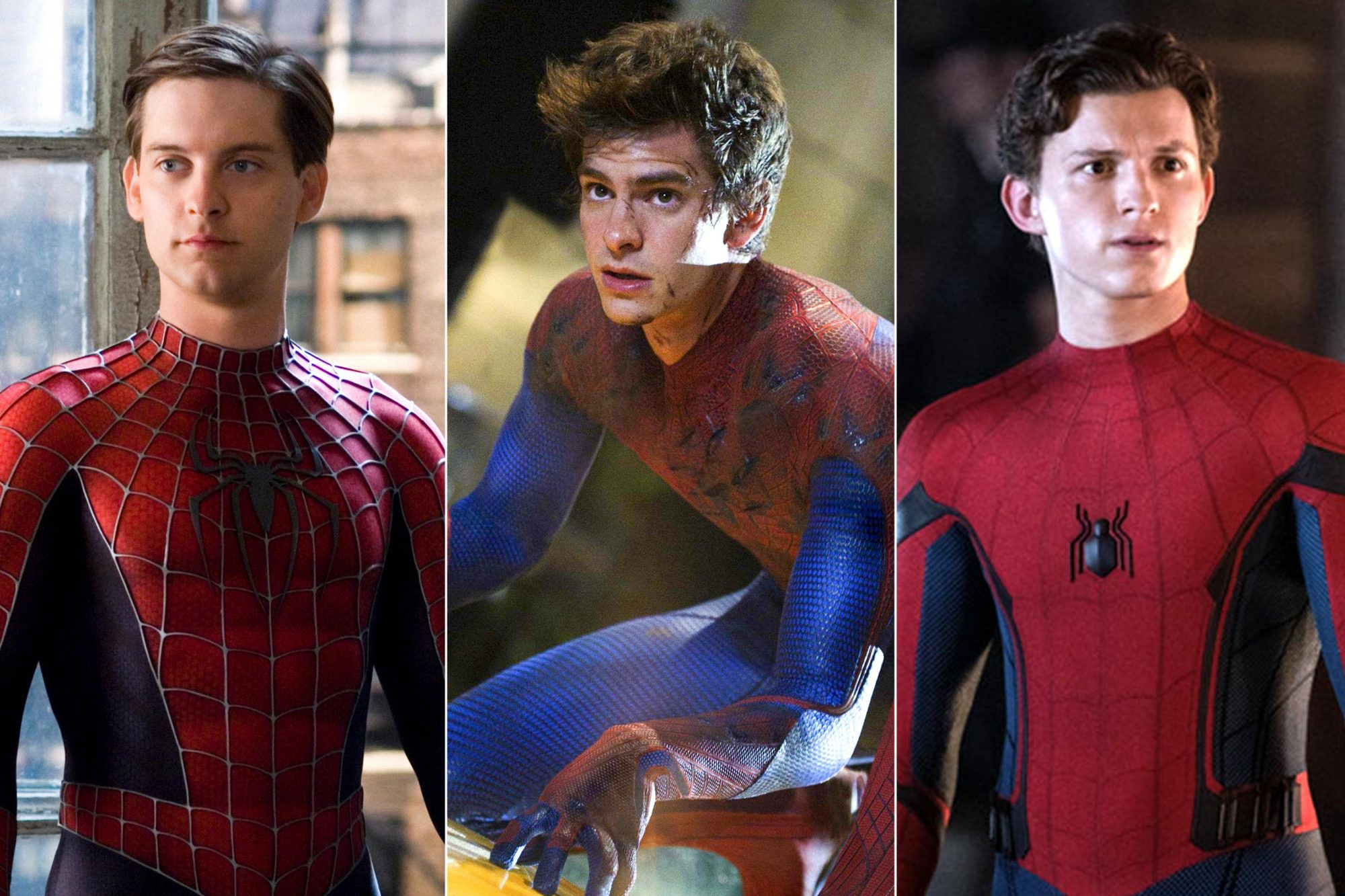 Spider-Man 3 (2007) Tobey Maguire The Amazing Spider-Man (2012) Andrew Garfield as Spider-Man / Peter Parker Tom Holland is Spider-Man in Columbia Pictures' SPIDER-MAN: ™ FAR FROM HOME.