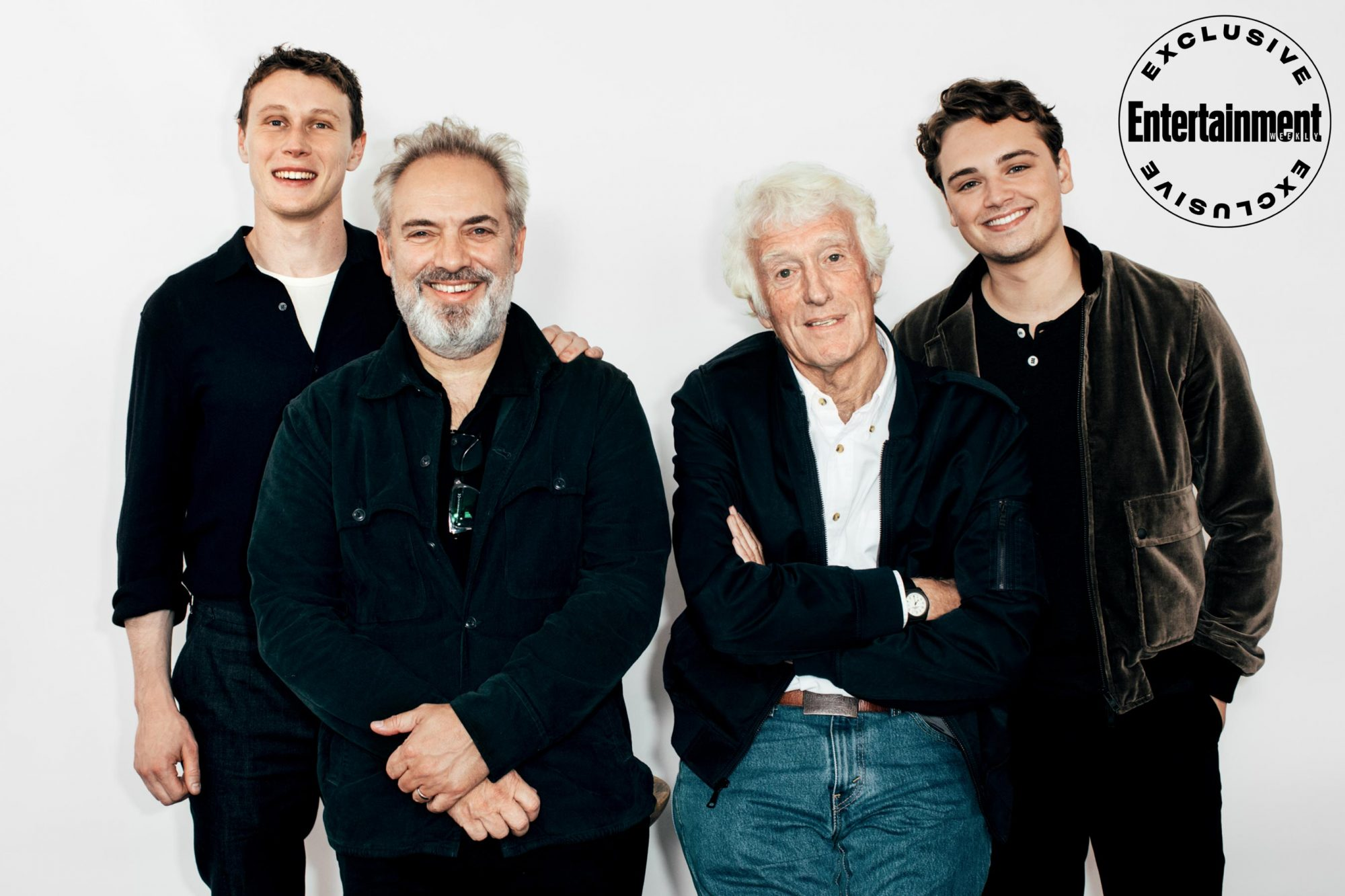 George MacKay, Sam Mendes, Roger Deakins, and Dean-Charles Chapman from 1917