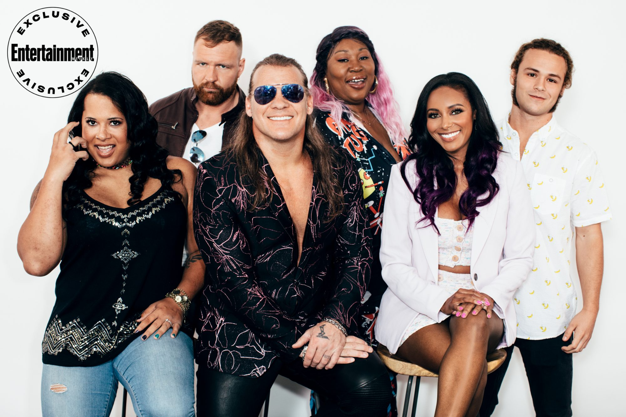 Nyla Rose, Jon Moxley, Chris Jericho, Awesome Kong (Kia Stevens), Brandi Rhodes, and Jungle Boy (Jack Perry) from All Elite Wrestling