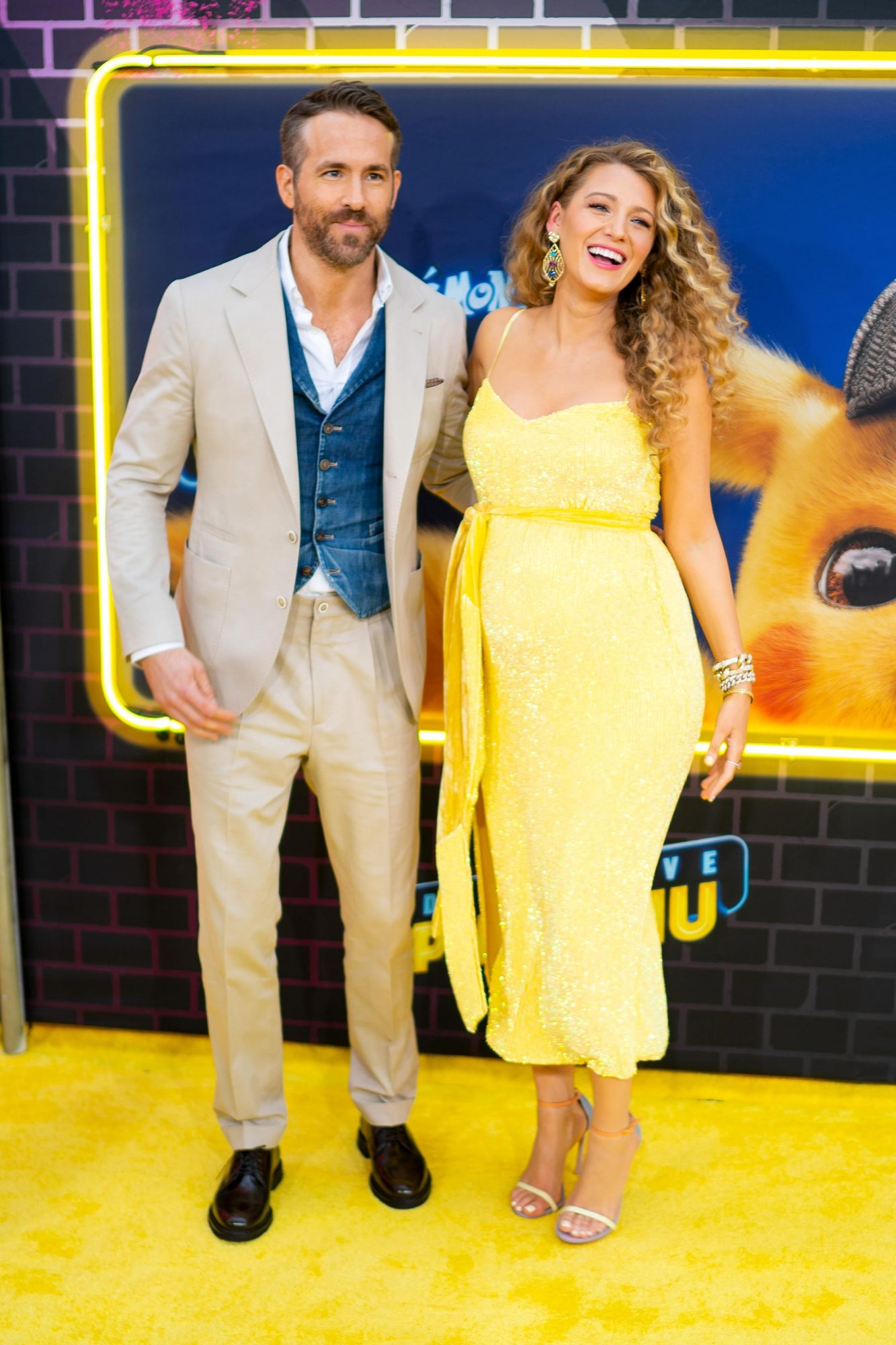 NEW YORK, NEW YORK - MAY 02: Blake Lively and Ryan Reynolds attend the 'Pokeman Detective Pikachu' U.S. Premiere at Times Square on May 02, 2019 in New York City. (Photo by Michael Stewart/FilmMagic)