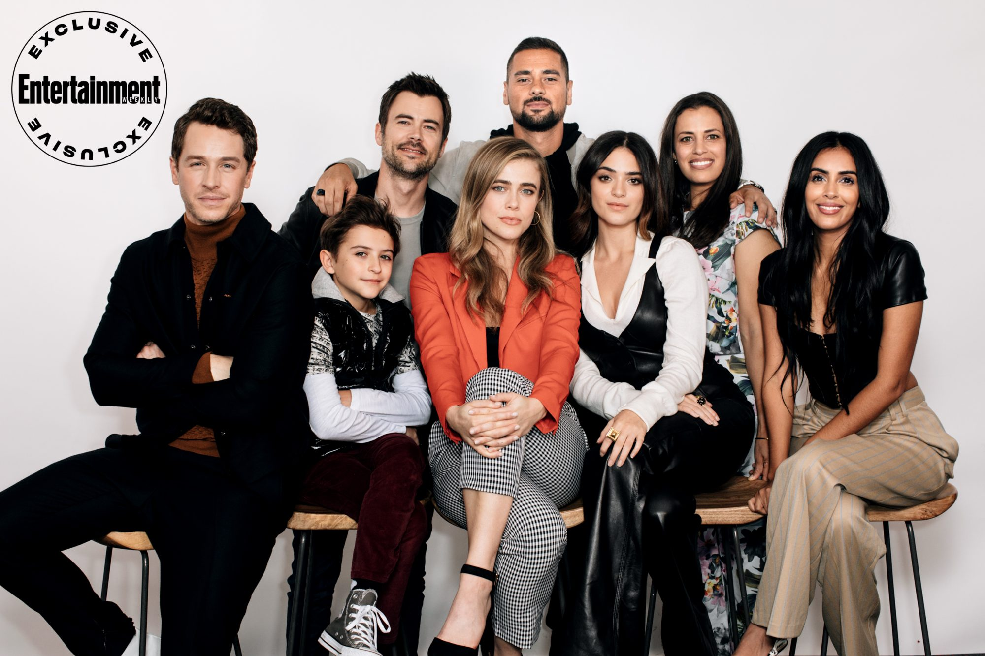 Josh Dallas, Jack Messina, Matt Long, Melissa Roxburgh, J.R. Ramirez, Luna Blaise, Athena Karkanis, and Parveen Kaur from Manifest