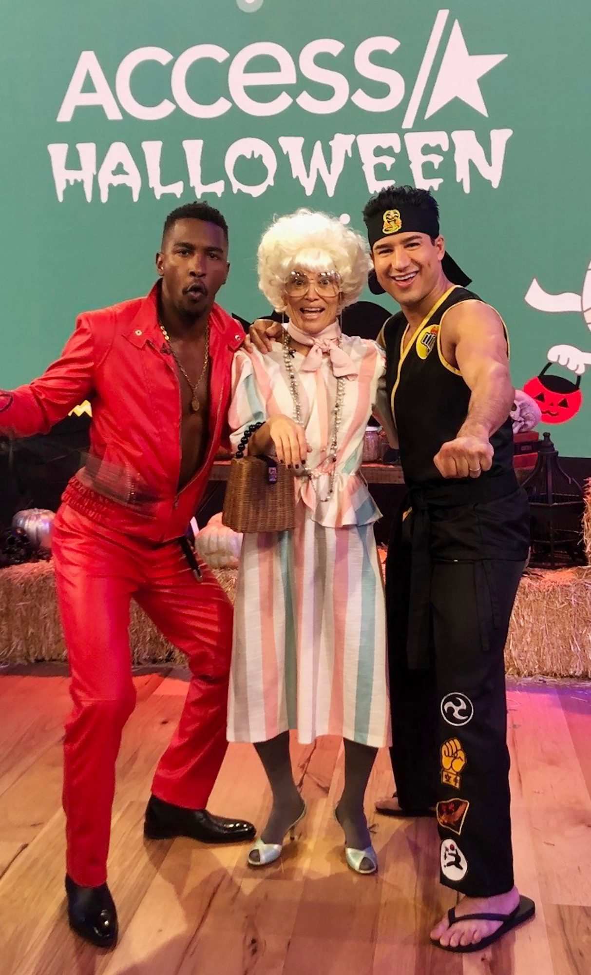 Access Daily's Mario Lopez, Kit Hoover and Scott Evans revisit the 80's for Halloween by dressing up Cobra Kai from Karate Kit, Sophia from The Golden Girls and Eddie Murphy in Delirious.