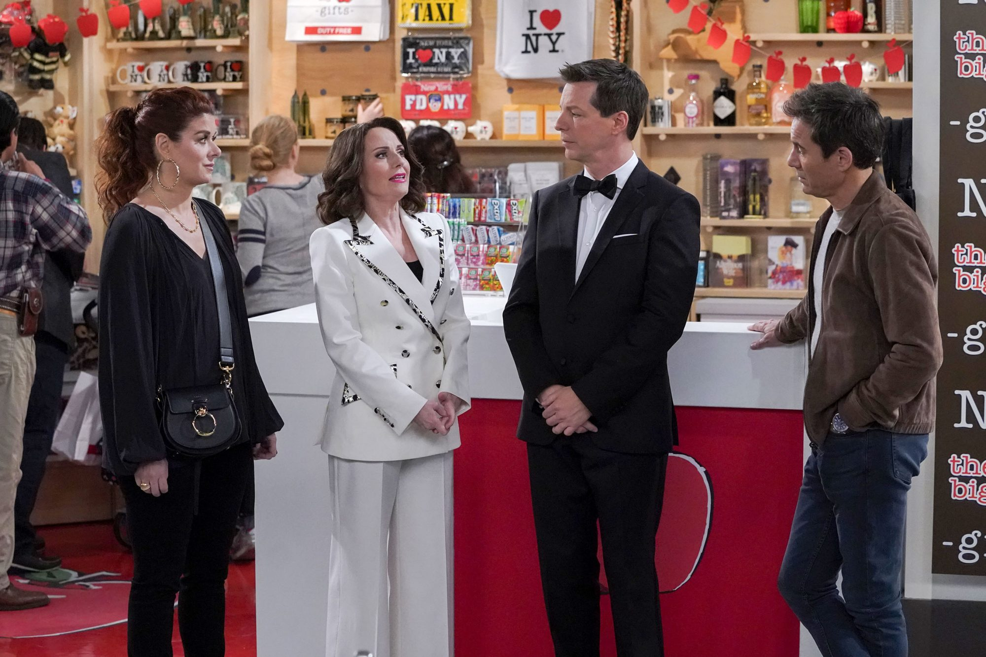 "WILL & GRACE -- ""Jack's Big Gay Wedding"" Episode 218 -- Pictured: (l-r) Debra Messing as Grace Adler, Megan Mullally as Karen Walker, Sean Hayes as Jack McFarland, Eric McCormack as Will Truman -- (Photo by: Chris Haston/NBC)"