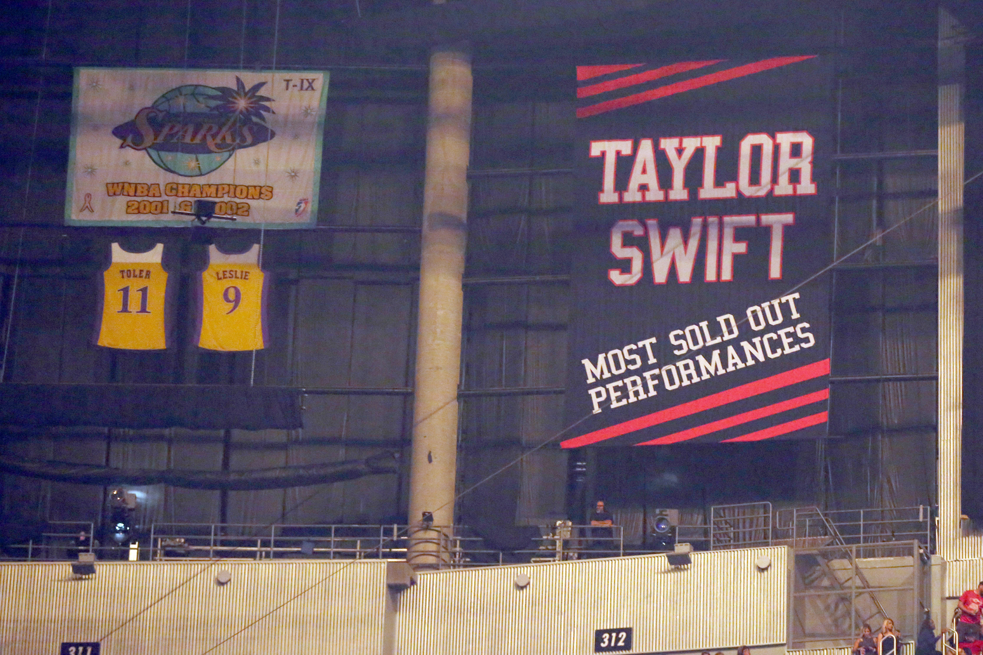 A banner honoring Taylor Swift