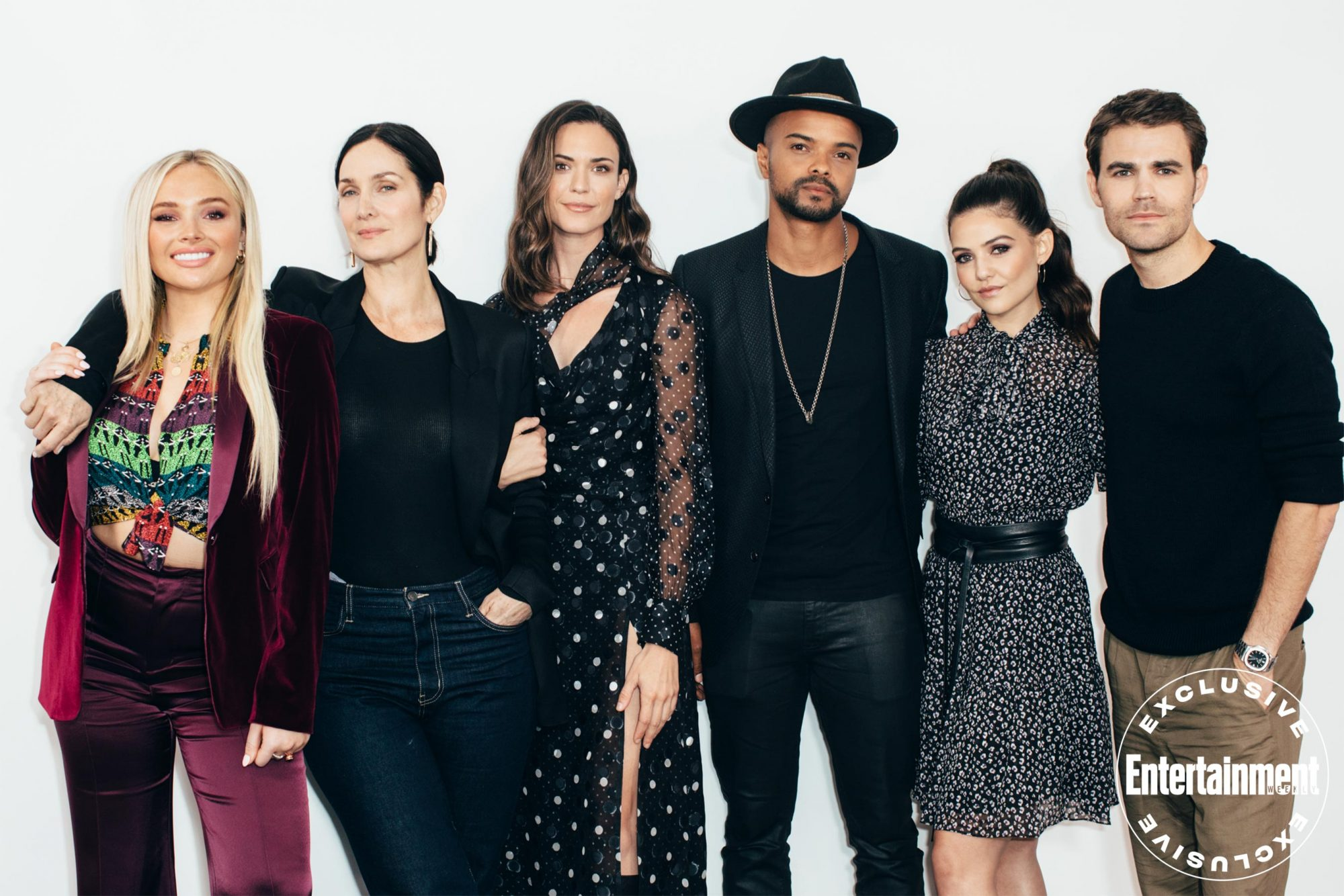 Natalie Alyn Lind, Carrie-Anne Moss, Odette Annable, Eka Darville, Danielle Campbell, and Paul Wesley from Tell Me a Story